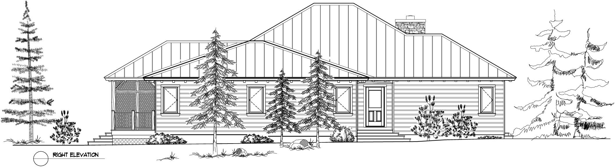 Normerica Timber Frame, House Plan, The Baril 3514, Right Elevation