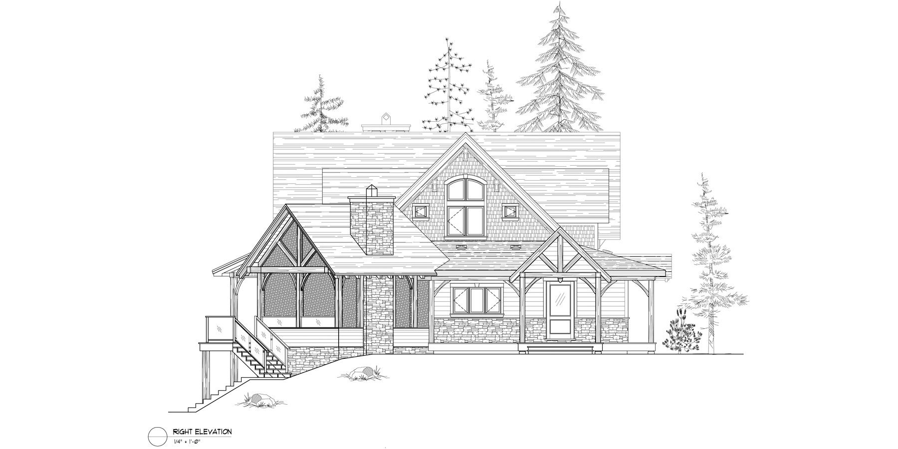 Normerica Timber Frame, House Plan, The Kearns 3510, Right Elevation