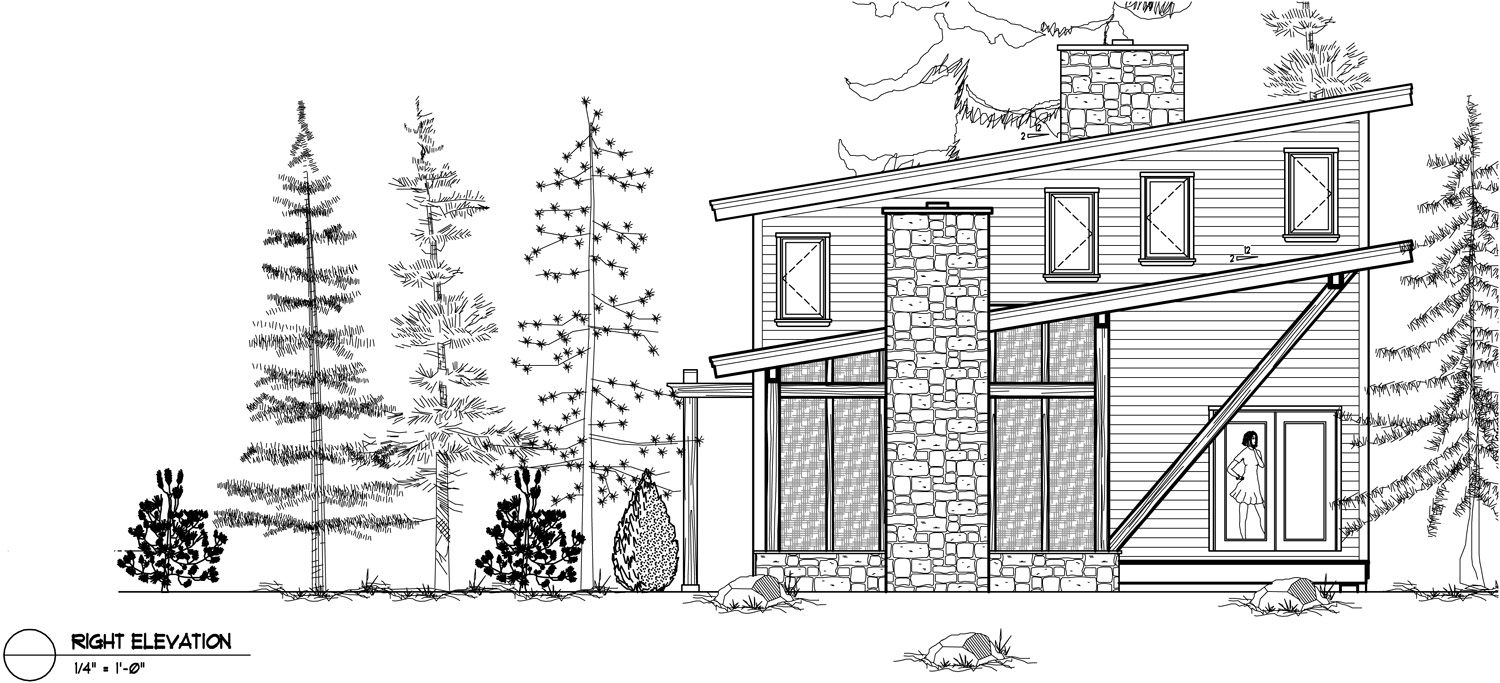 Normerica Timber Frame, House Plan, The Kershaw 3586, Right Elevation