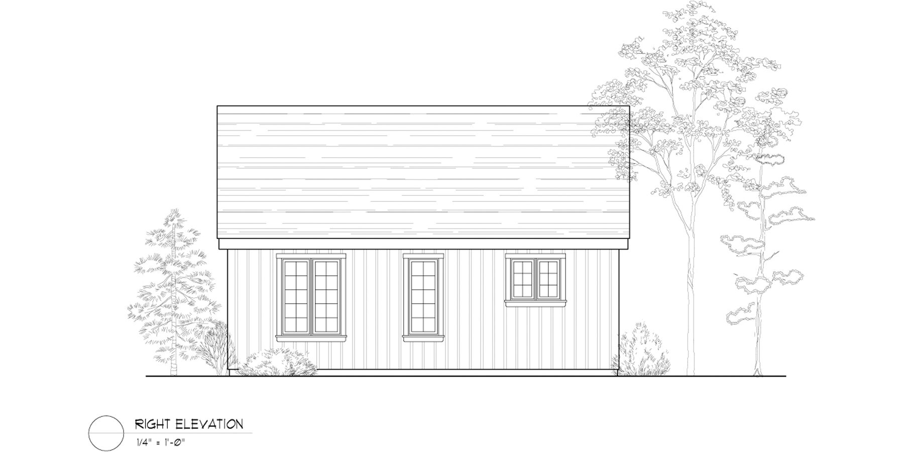 Normerica Timber Frame, House Plan, The Retreat 3143, Right Elevation