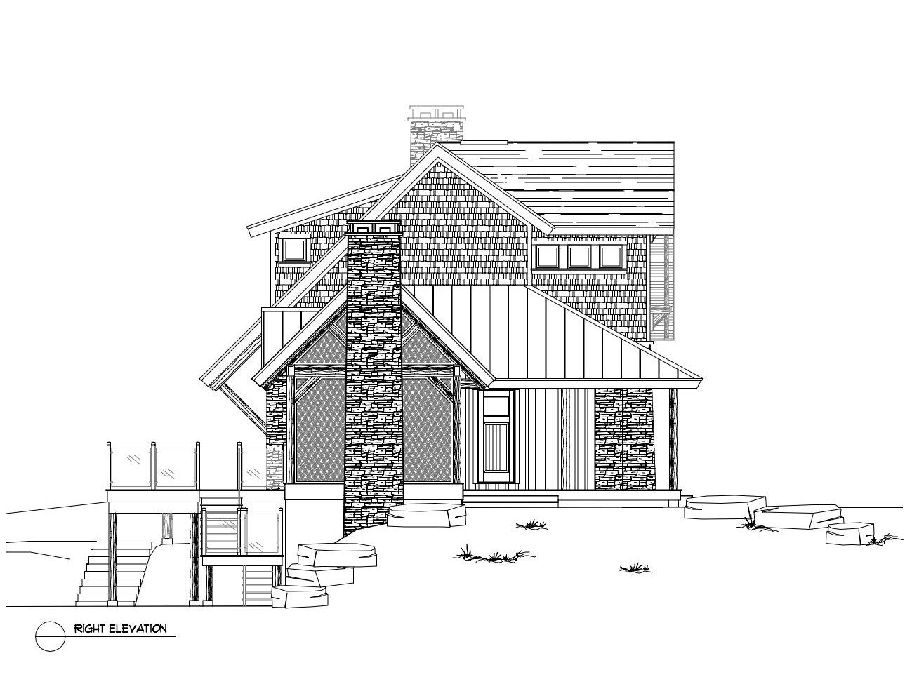Normerica Timber Frame, House Plan, The Rosseau 3829, Right Elevation