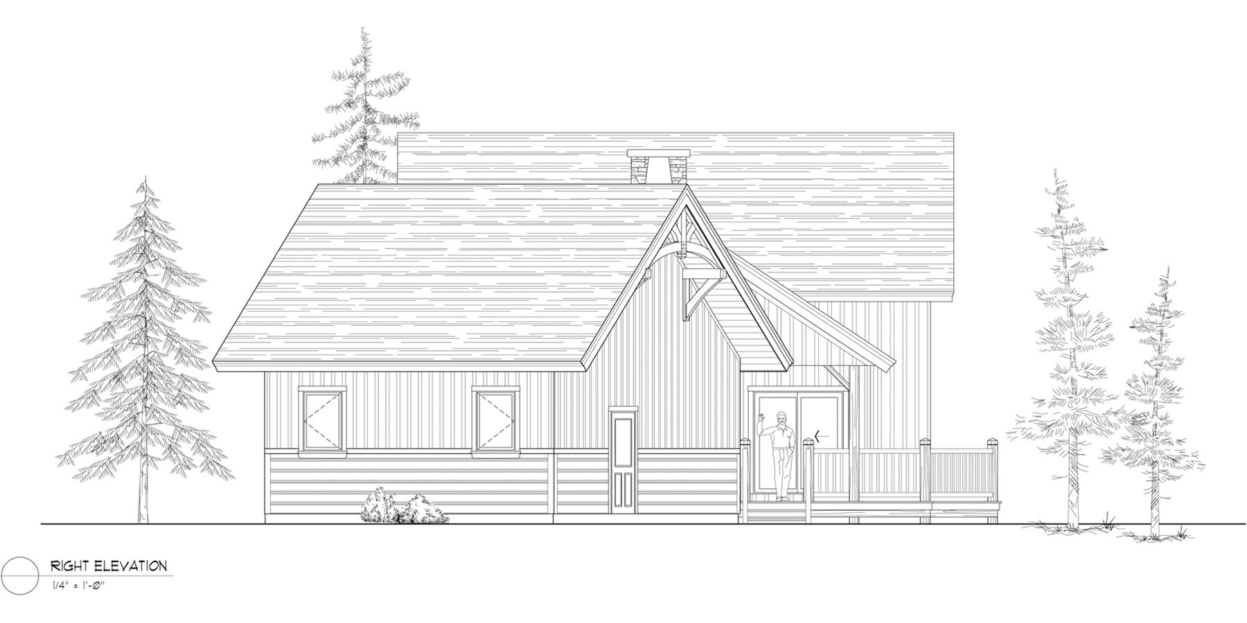 Normerica Timber Frames, House Plan, Algoma 3538, Right Elevation