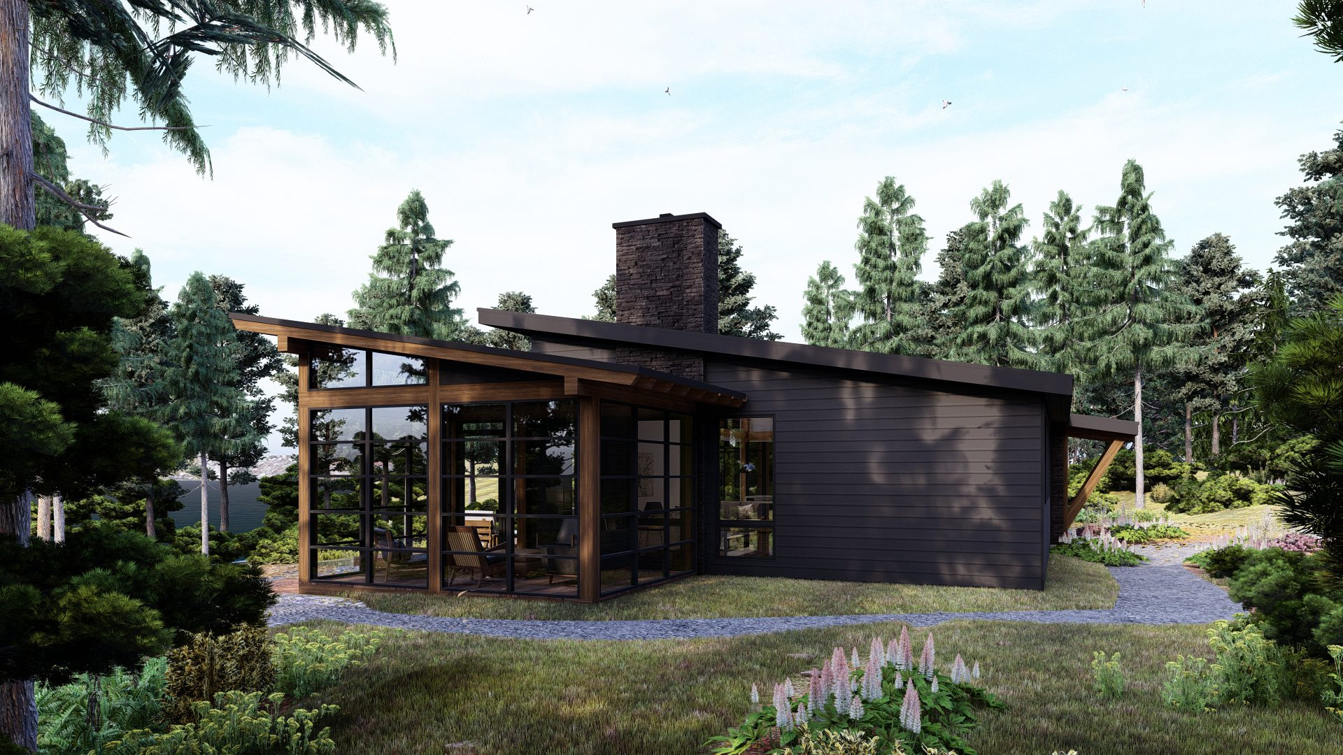 Normerica Timber Frames, House Plan, The Bayfield 3945, Exterior, Side, Porch