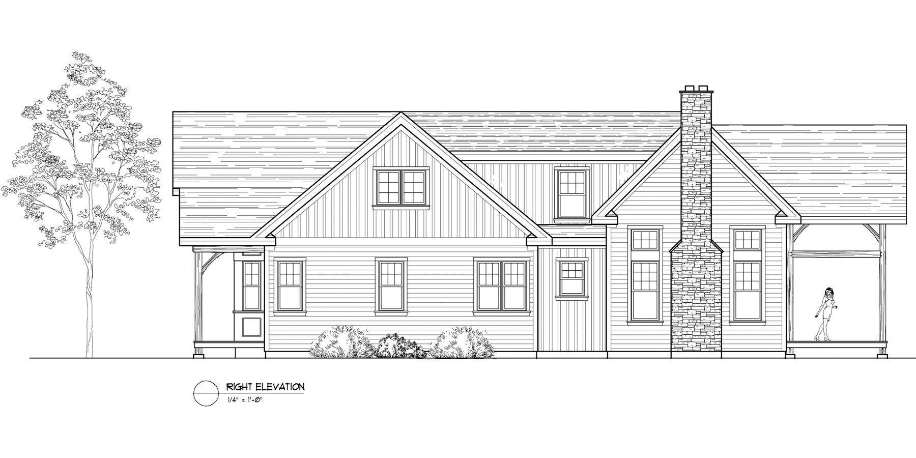 Normerica Timber Frames, House Plan, The Birches 3532, Right Elevation