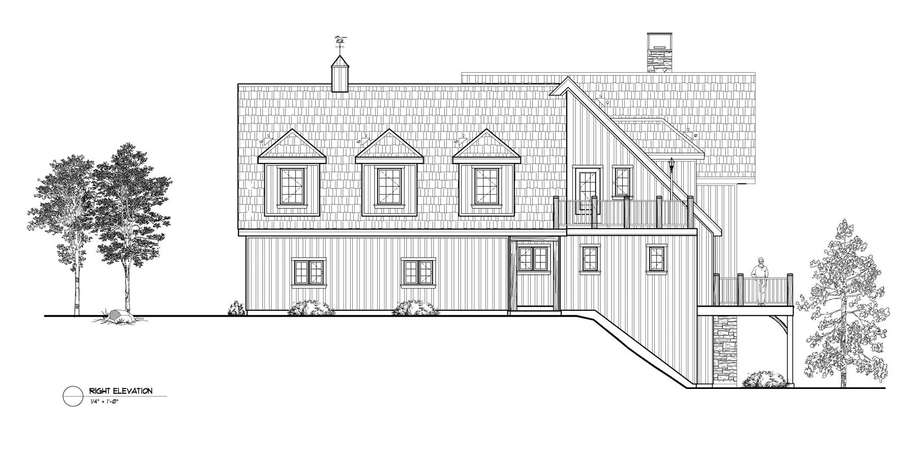 Normerica Timber Frames, House Plan, The Brennan 3576, Right Elevation