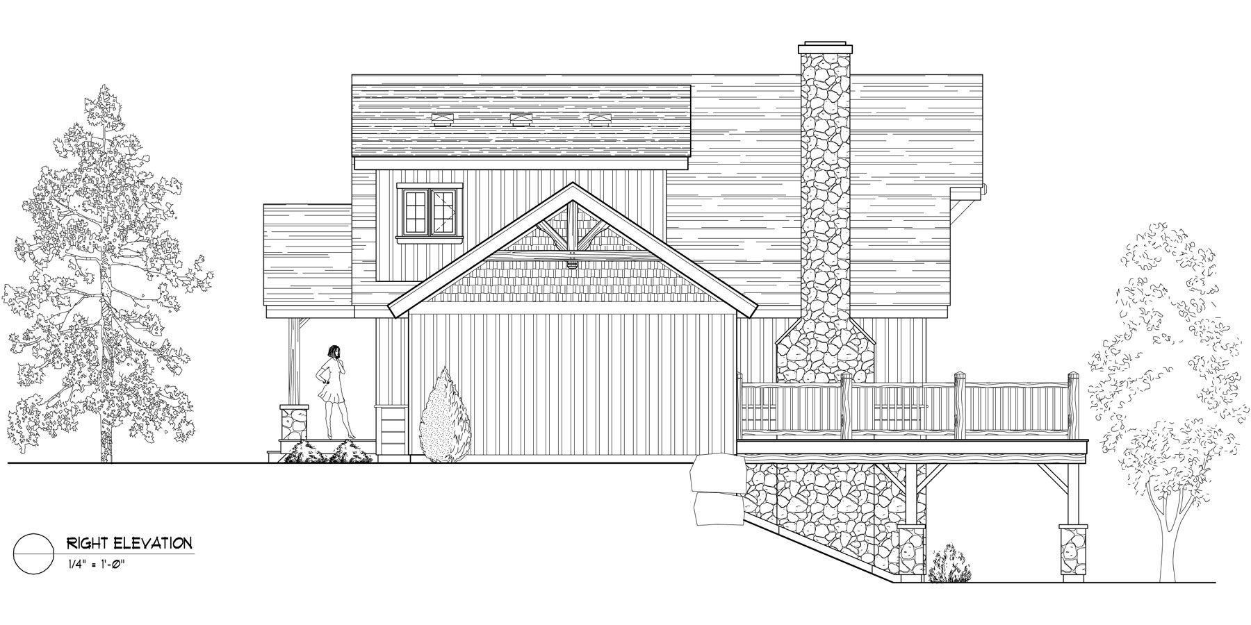 Normerica Timber Frames, House Plan, The Carleton 3115, Right Elevation