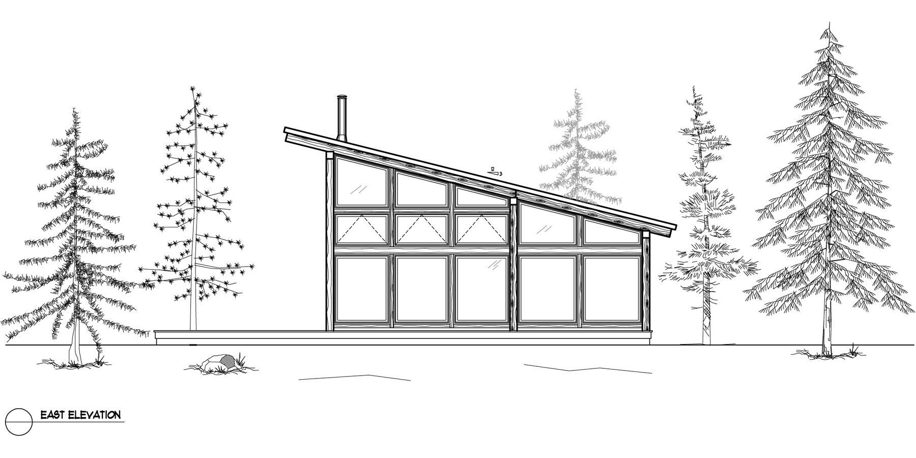 Normerica Timber Frames, House Plan, The Davidson 3872, Right Elevation