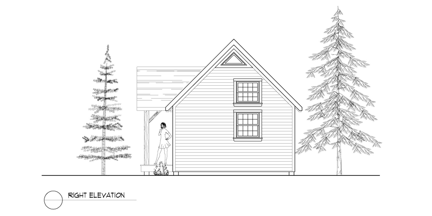 Normerica Timber Frames, House Plan, The Dillon 2254, Right Elevation
