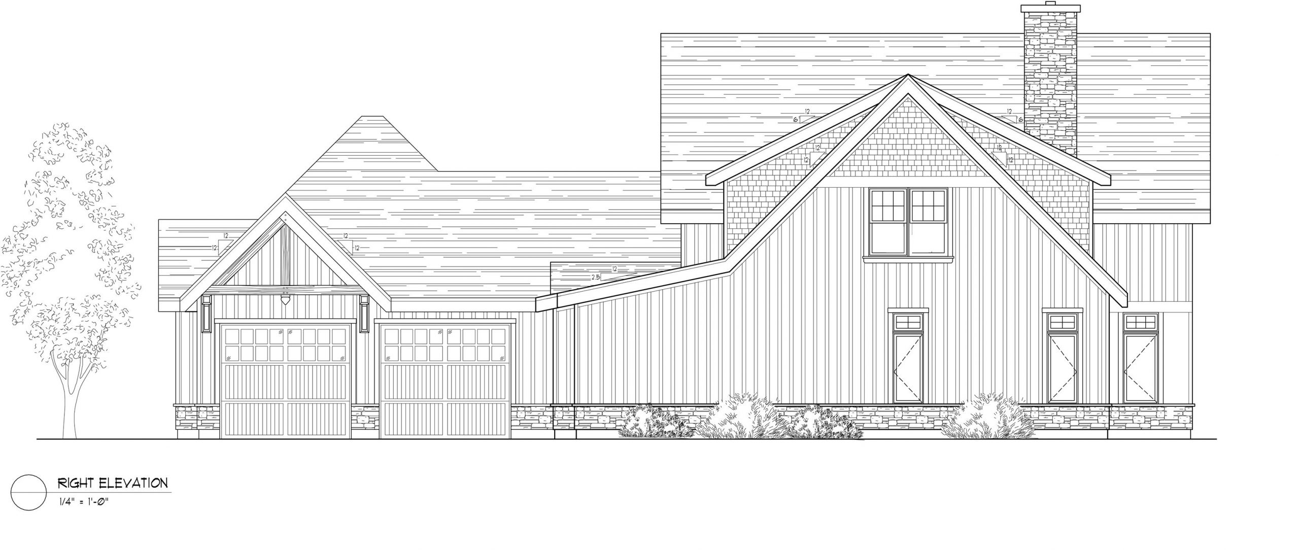 Normerica Timber Frames, House Plan, The Dufferin 2822, Right Elevation