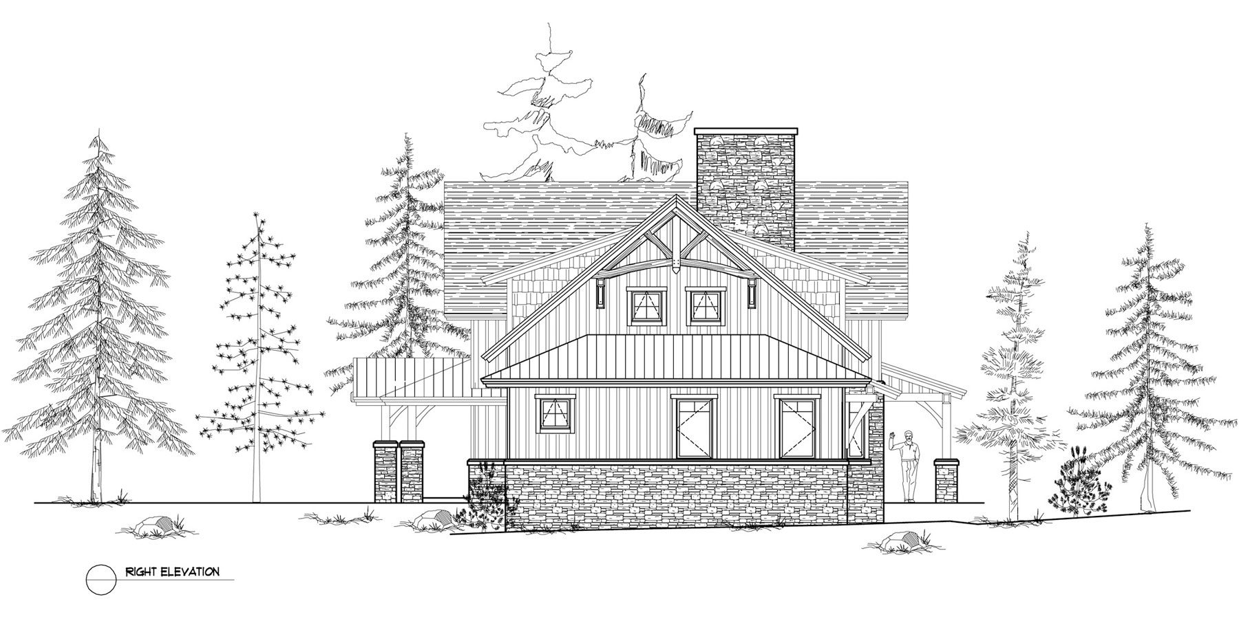 Normerica Timber Frames, House Plan, The Dufferin 3512, Right Elevation