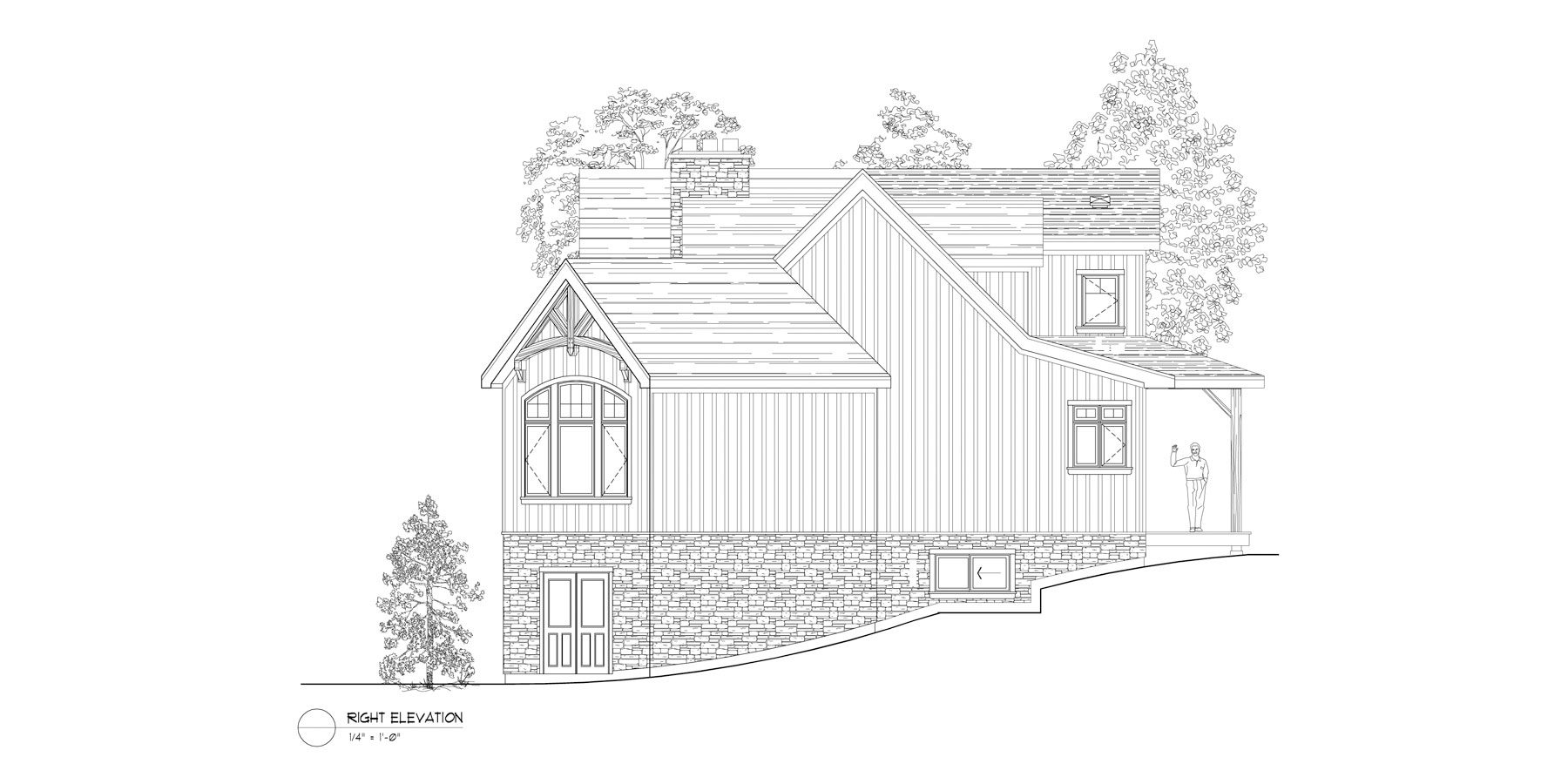 Normerica Timber Frames, House Plan, The Fremont 3582, Right Elevation