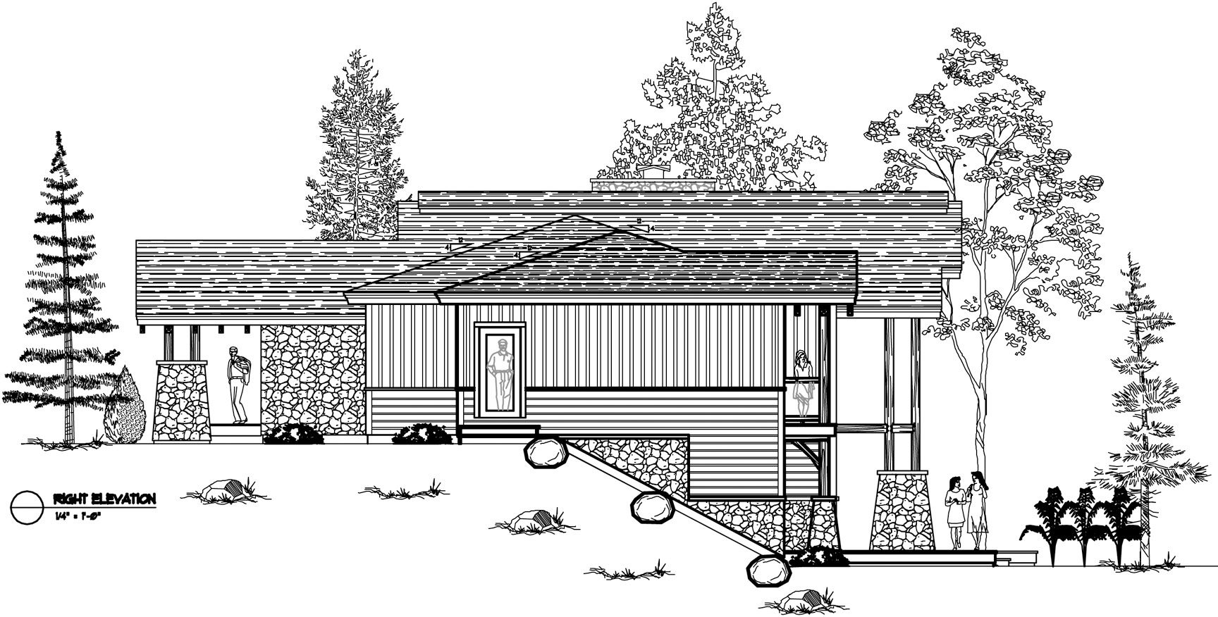 Normerica Timber Frames, House Plan, The Highrock 3579, Right Elevation