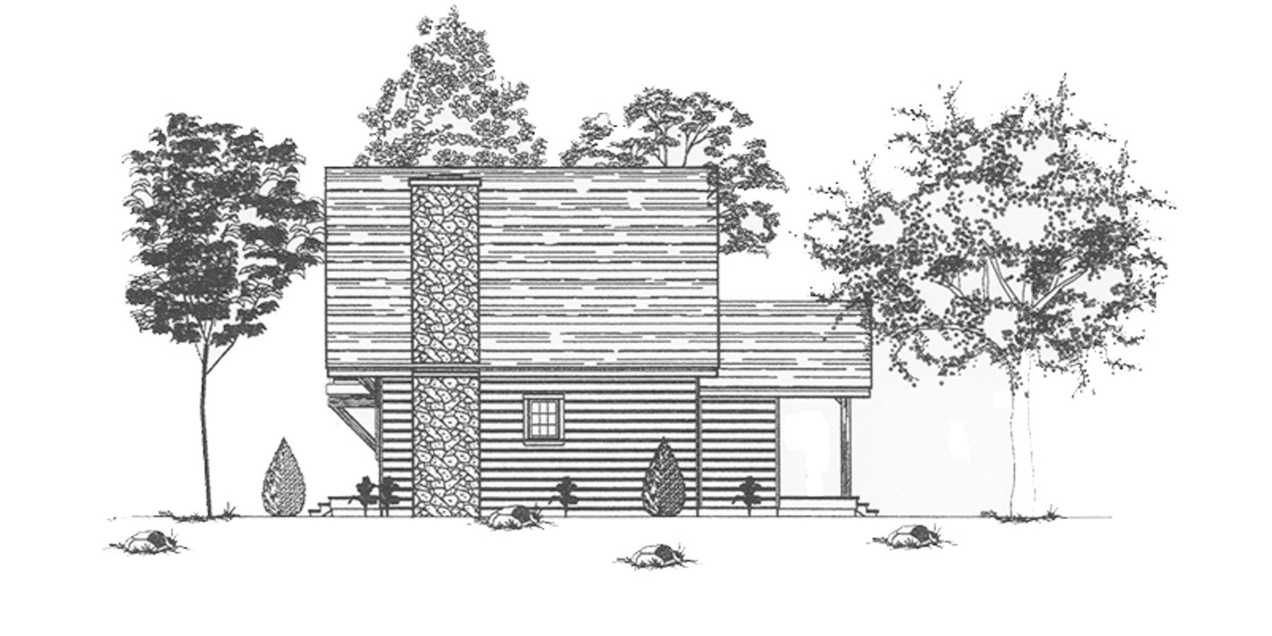 Normerica Timber Frames, House Plan, The Jackson 3605, Right Elevation