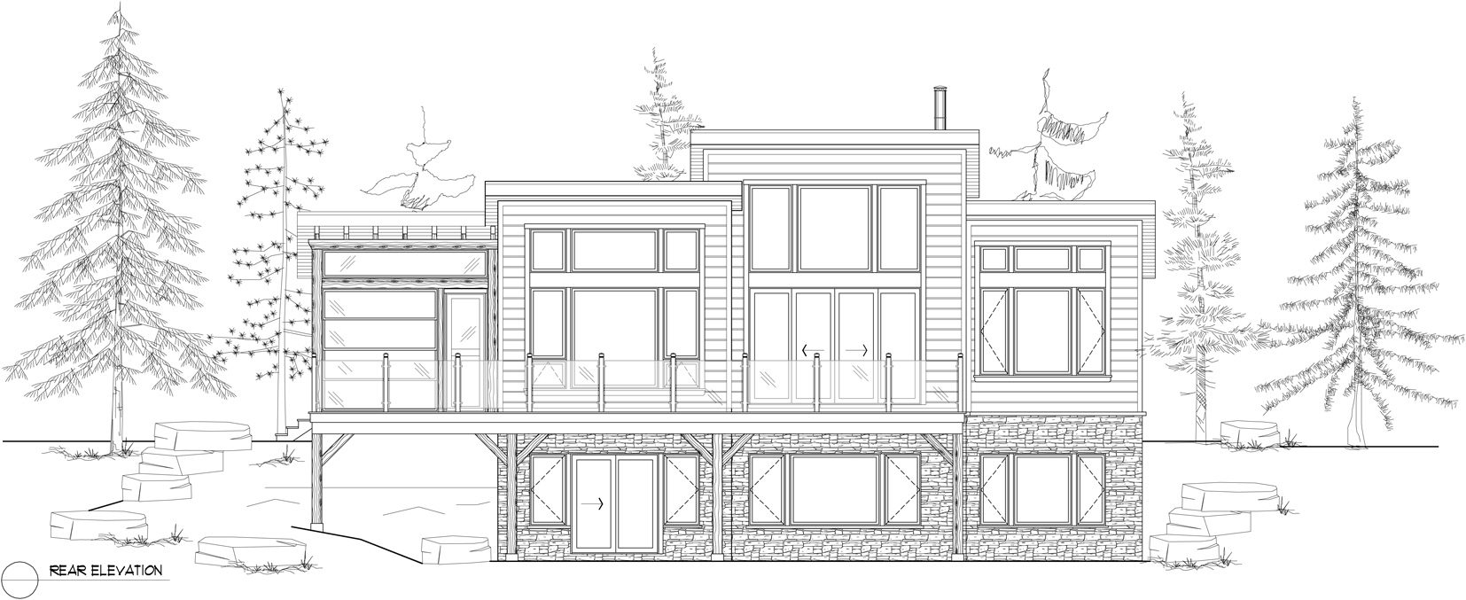 Normerica Timber Frames, House Plan, The Kershaw 3808, Rear Elevation
