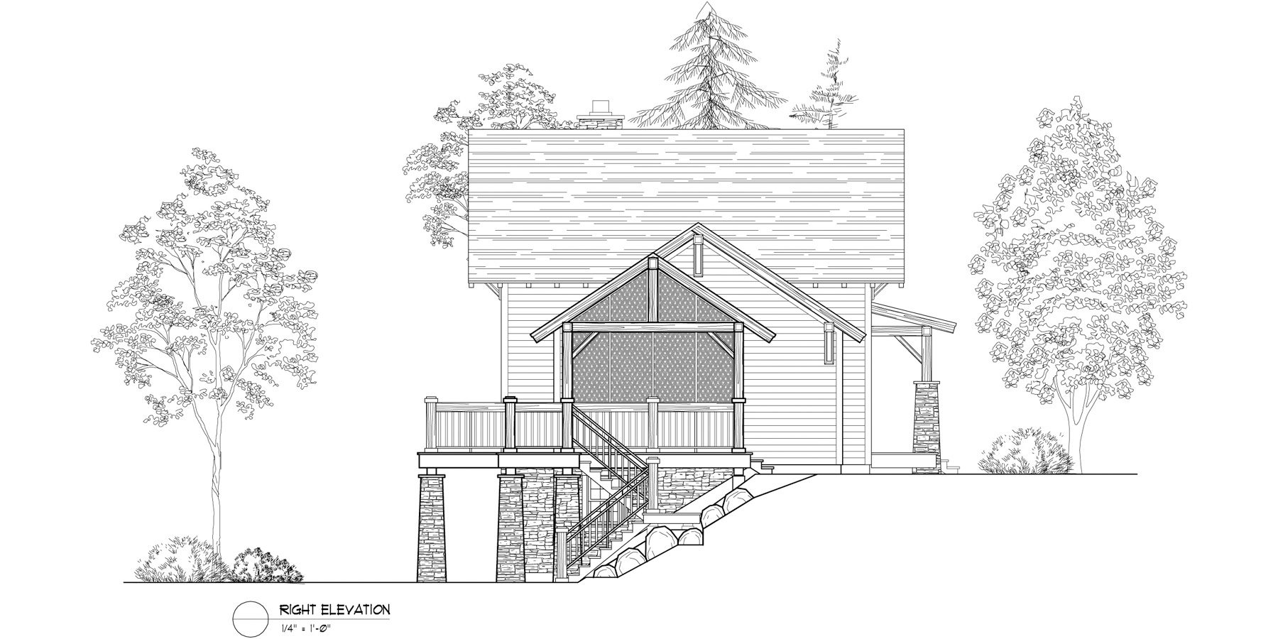 Normerica Timber Frames, House Plan, The Lanark 3522, Right Elevation