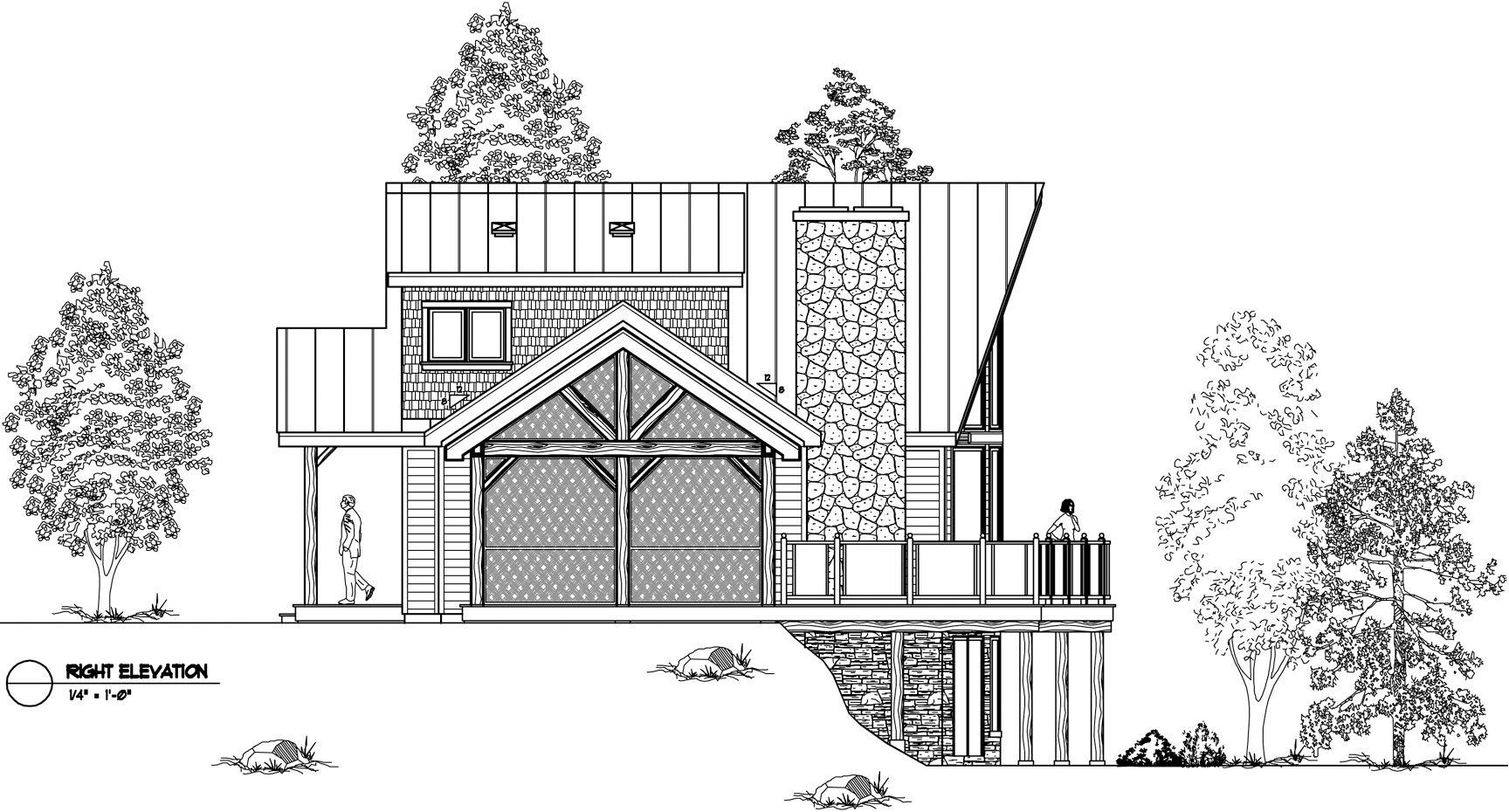 Normerica Timber Frames, House Plan, The Lennox 3546, Right Elevation