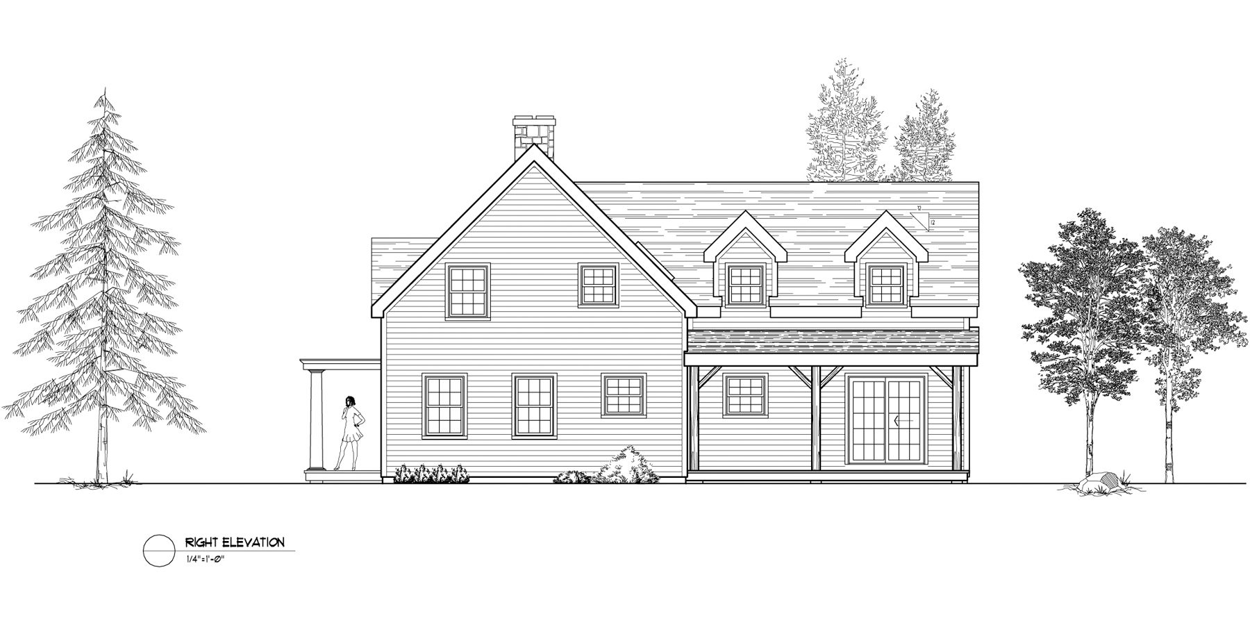 Normerica Timber Frames, House Plan, The Niagara 3539, Right Elevation