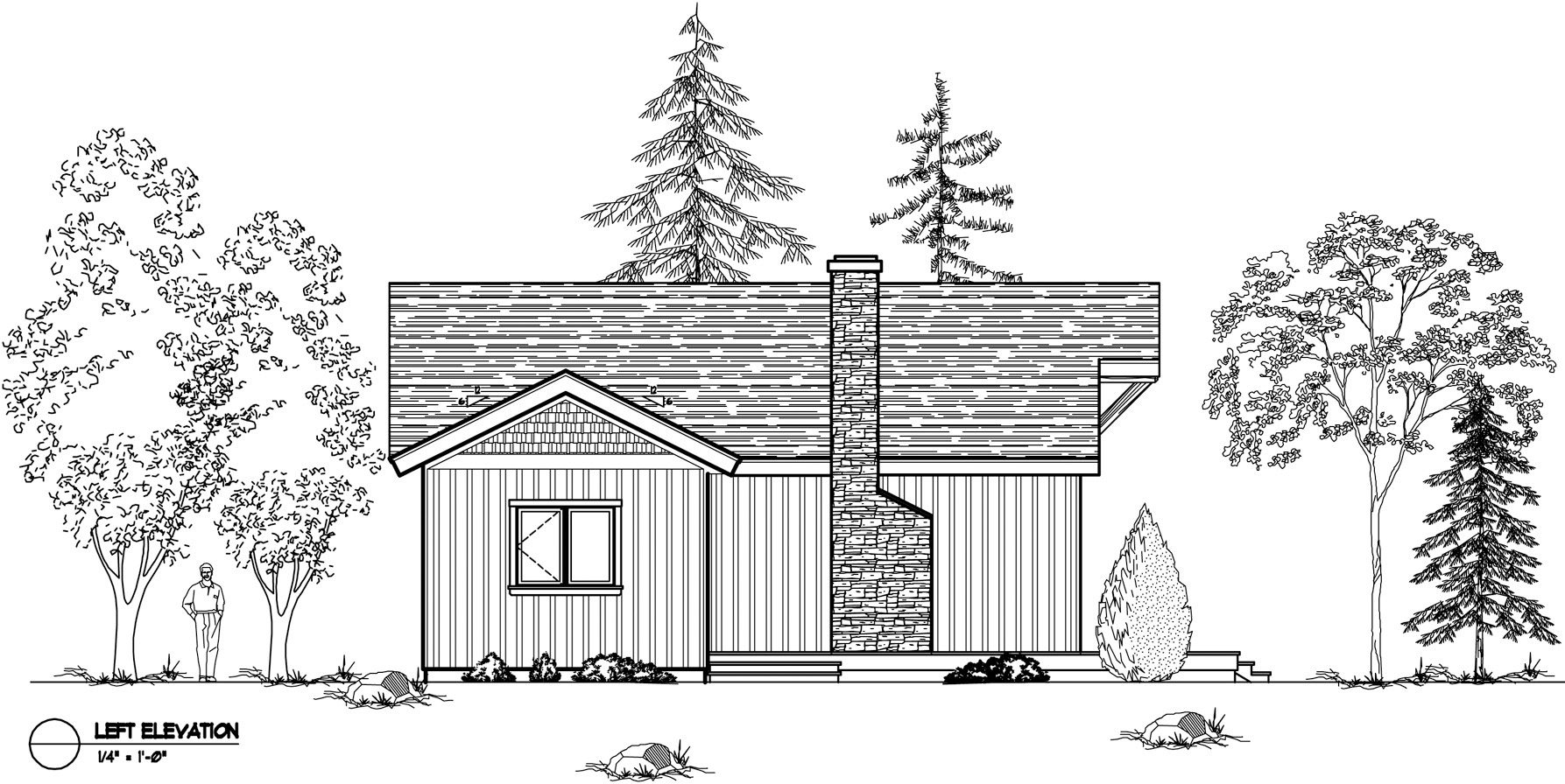 Normerica Timber Frames, House Plan, The Nipissing 3542, Left Elevation