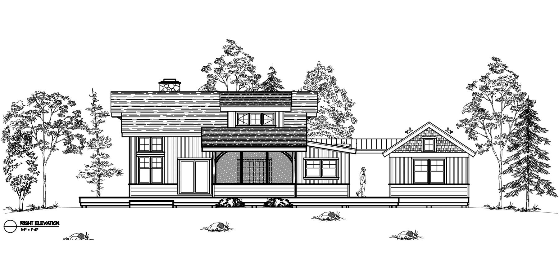 Normerica Timber Frames, House Plan, The Ranger 3575, Right Elevation