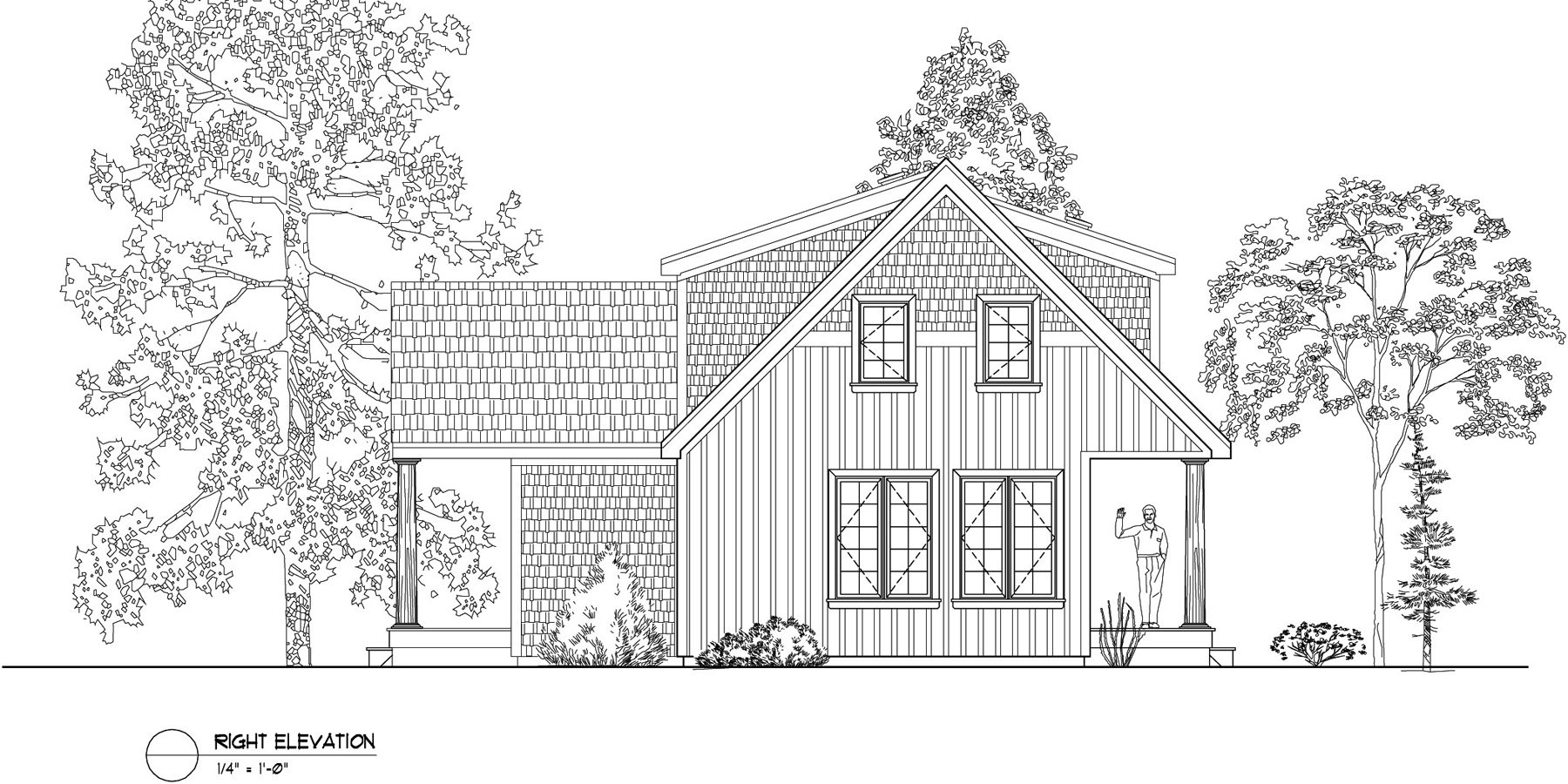 Normerica Timber Frames, House Plan, The Routt 3419, Right Elevation
