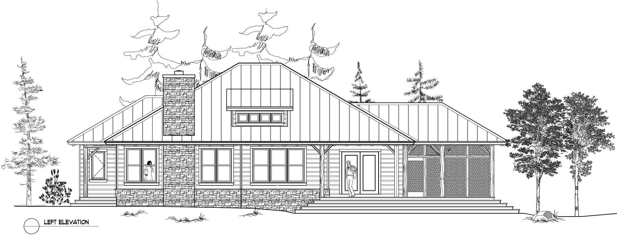 Normerica Timber Frame, House Plan, The Baril 3514, Left Elevation