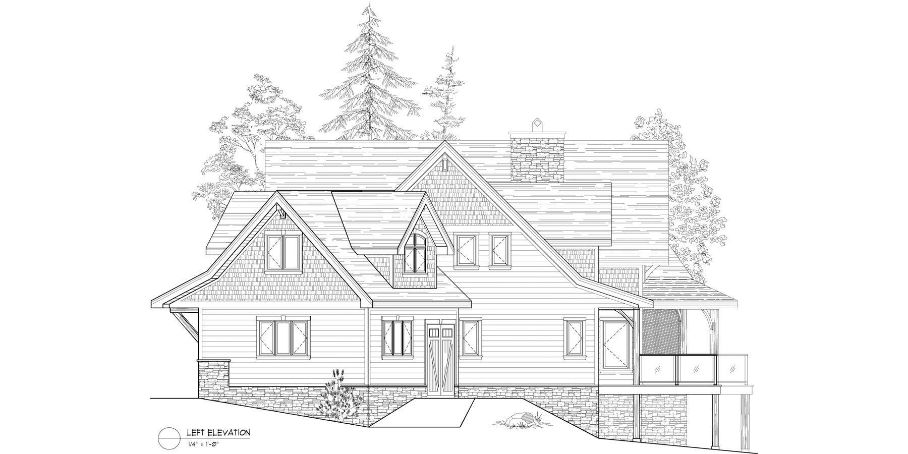 Normerica Timber Frame, House Plan, The Kearns 3510, Left Elevation