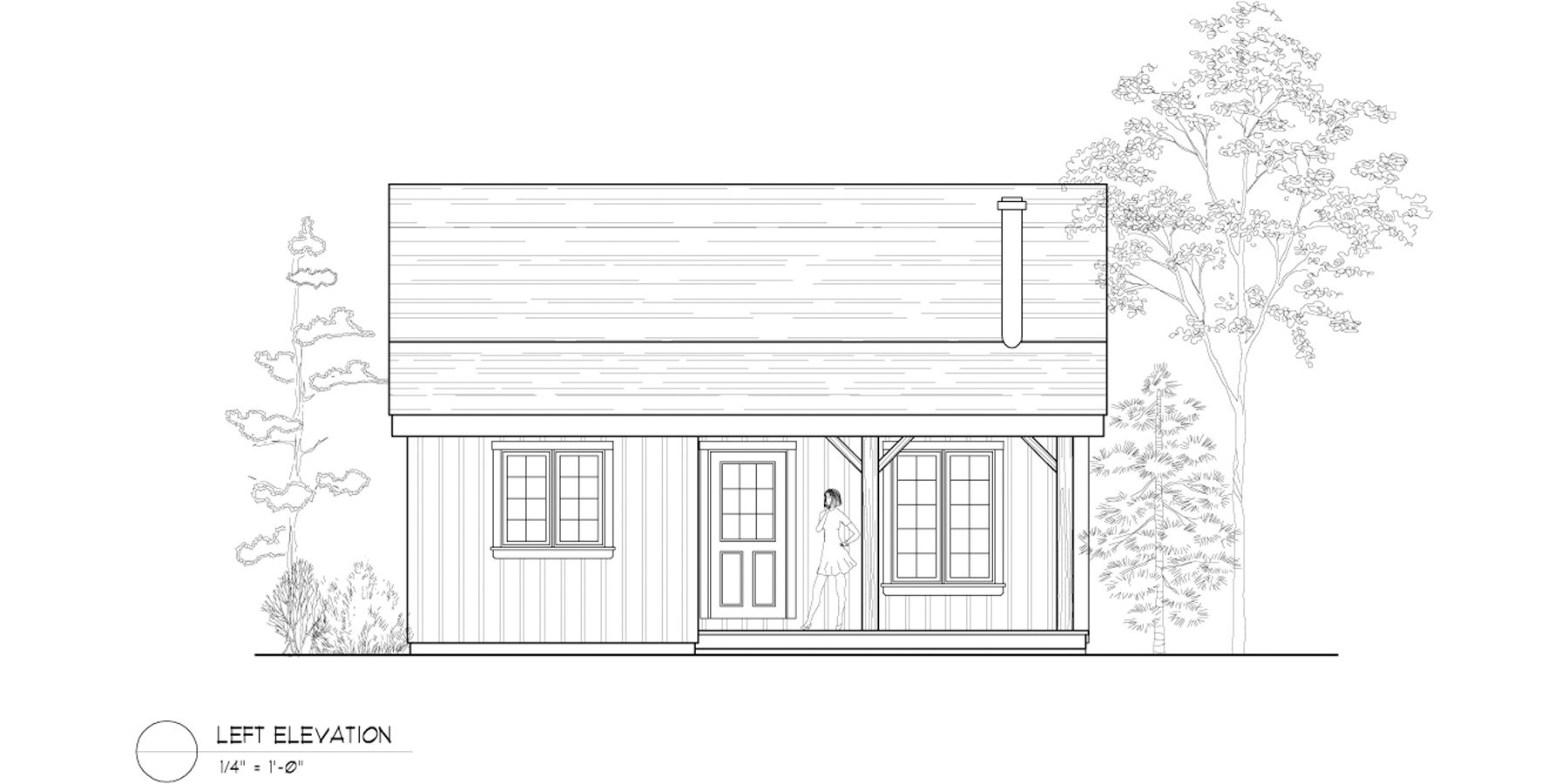 Normerica Timber Frame, House Plan, The Retreat 3143, Left Elevation