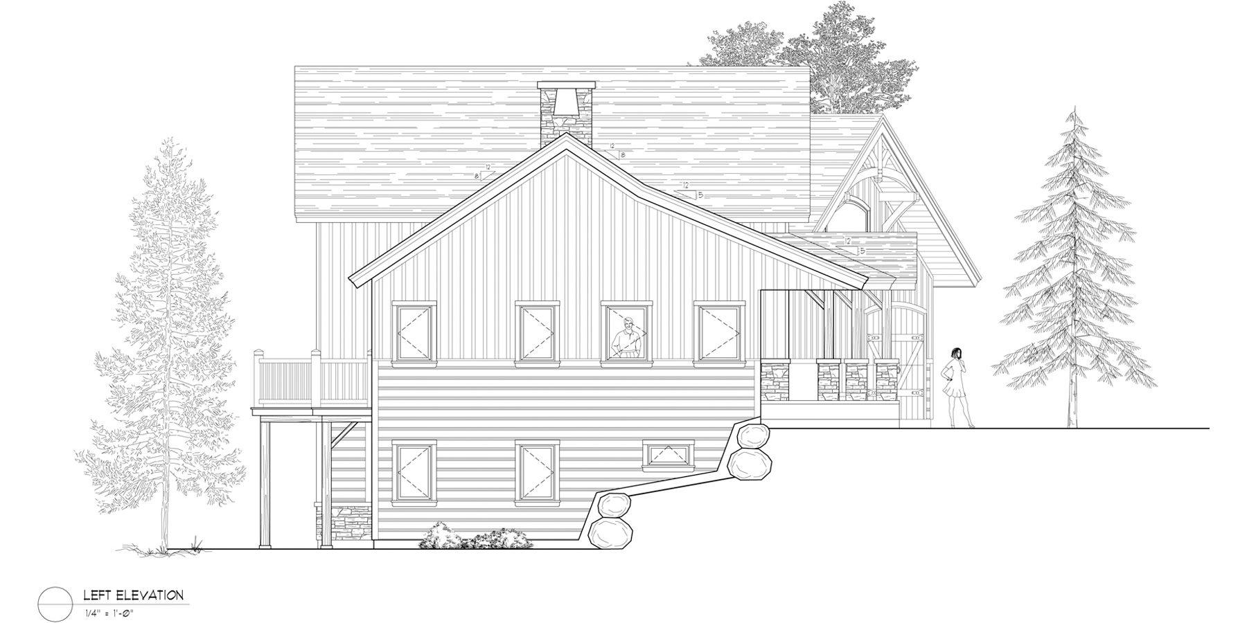 Normerica Timber Frames, House Plan, Algoma 3538, Left Elevation