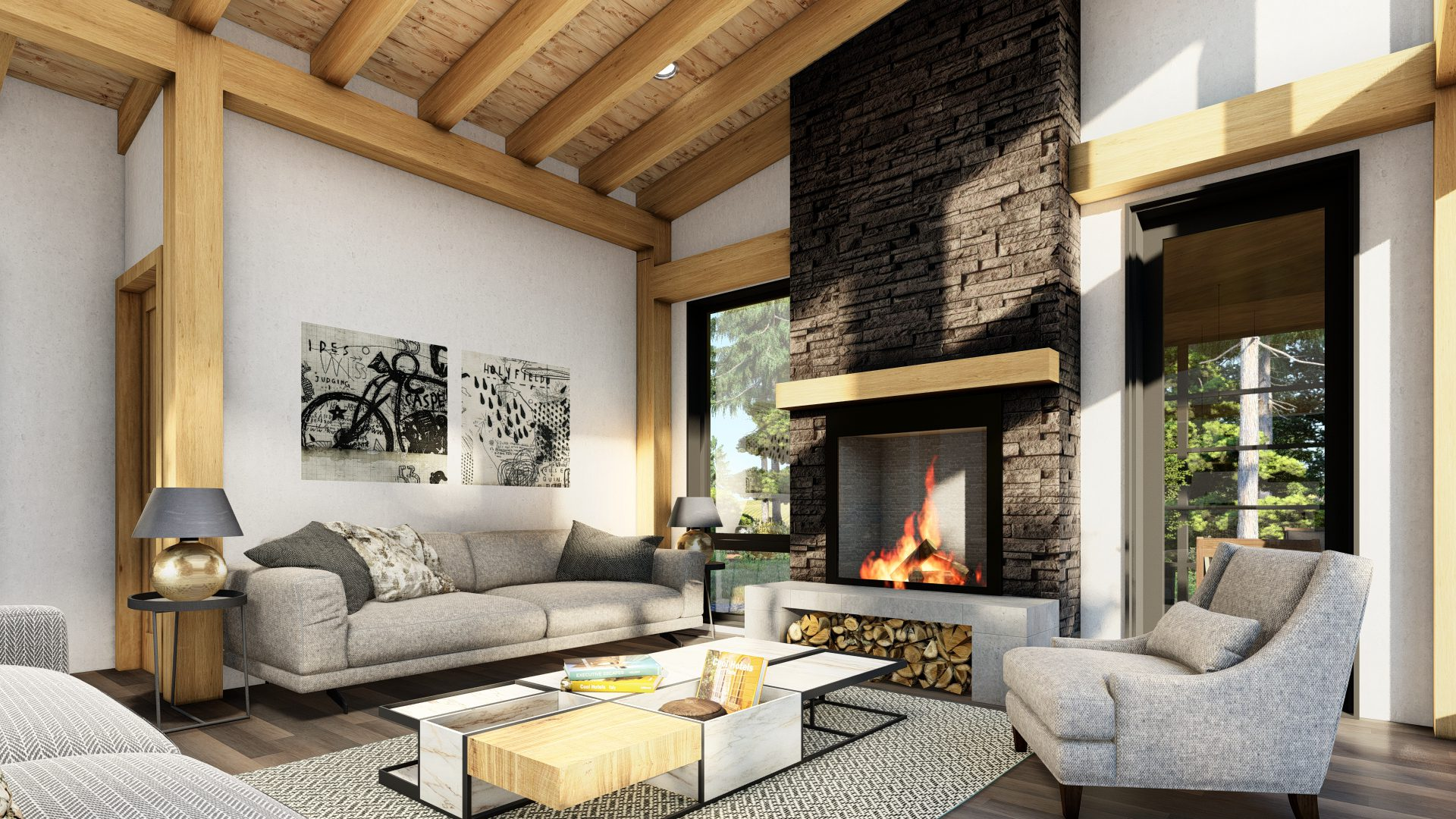 Normerica Timber Frames, House Plan, The Bayfield 3945, Interior, Dining Room, Living Room, Fireplace