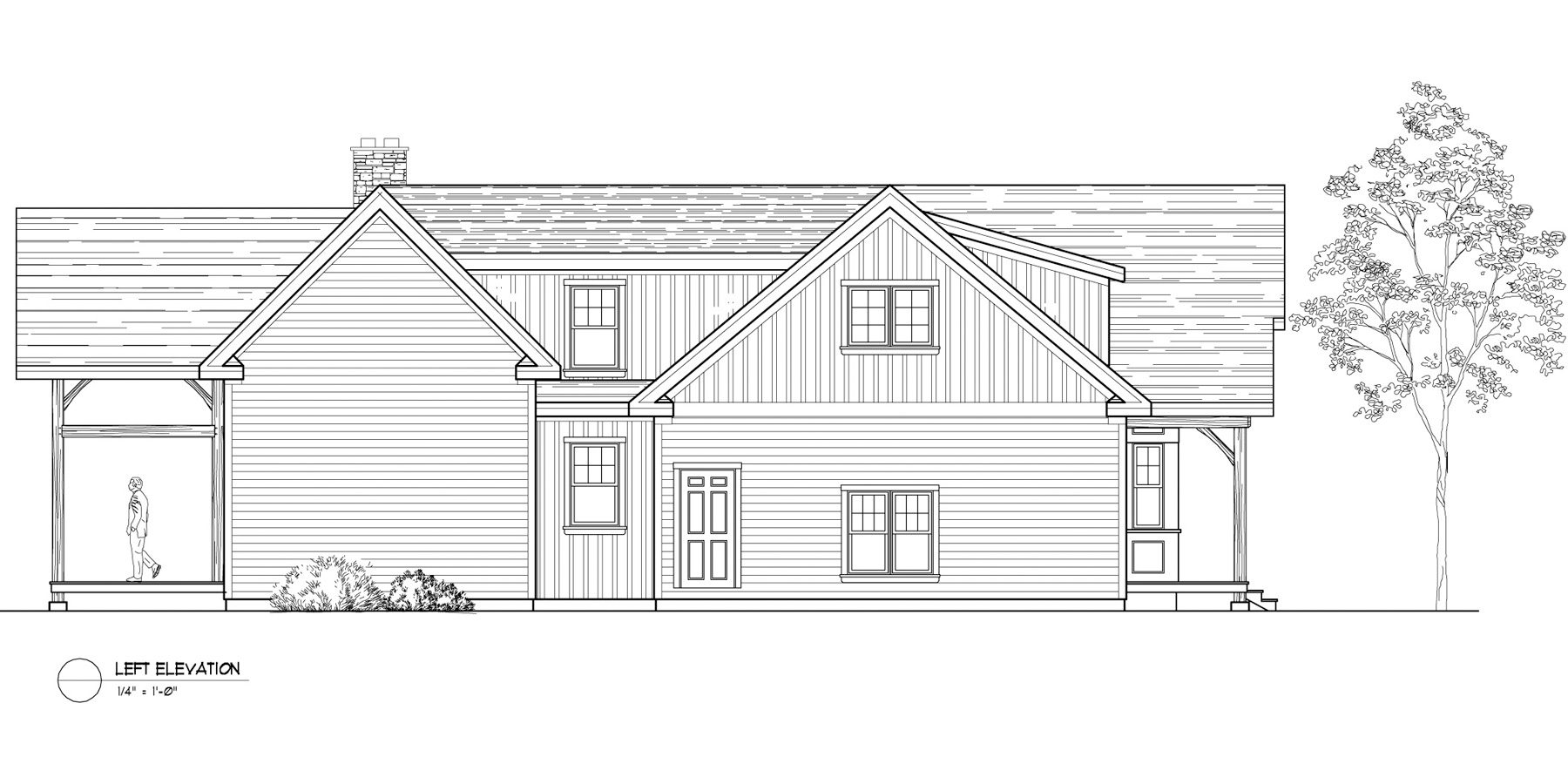 Normerica Timber Frames, House Plan, The Birches 3532, Left Elevation