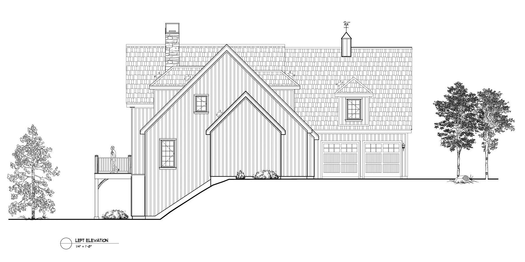 Normerica Timber Frames, House Plan, The Brennan 3576, Left Elevation