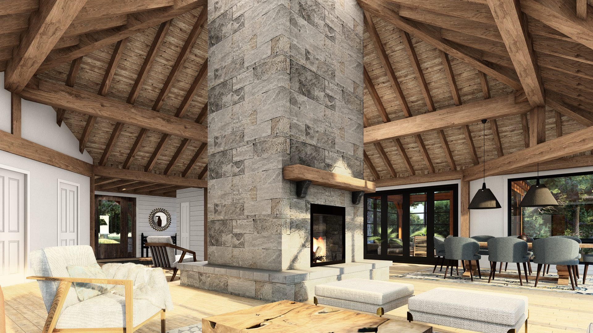 Normerica Timber Frames, House Plan, The Britt 3954, Interior, Living Room, Dining Room, Fireplace