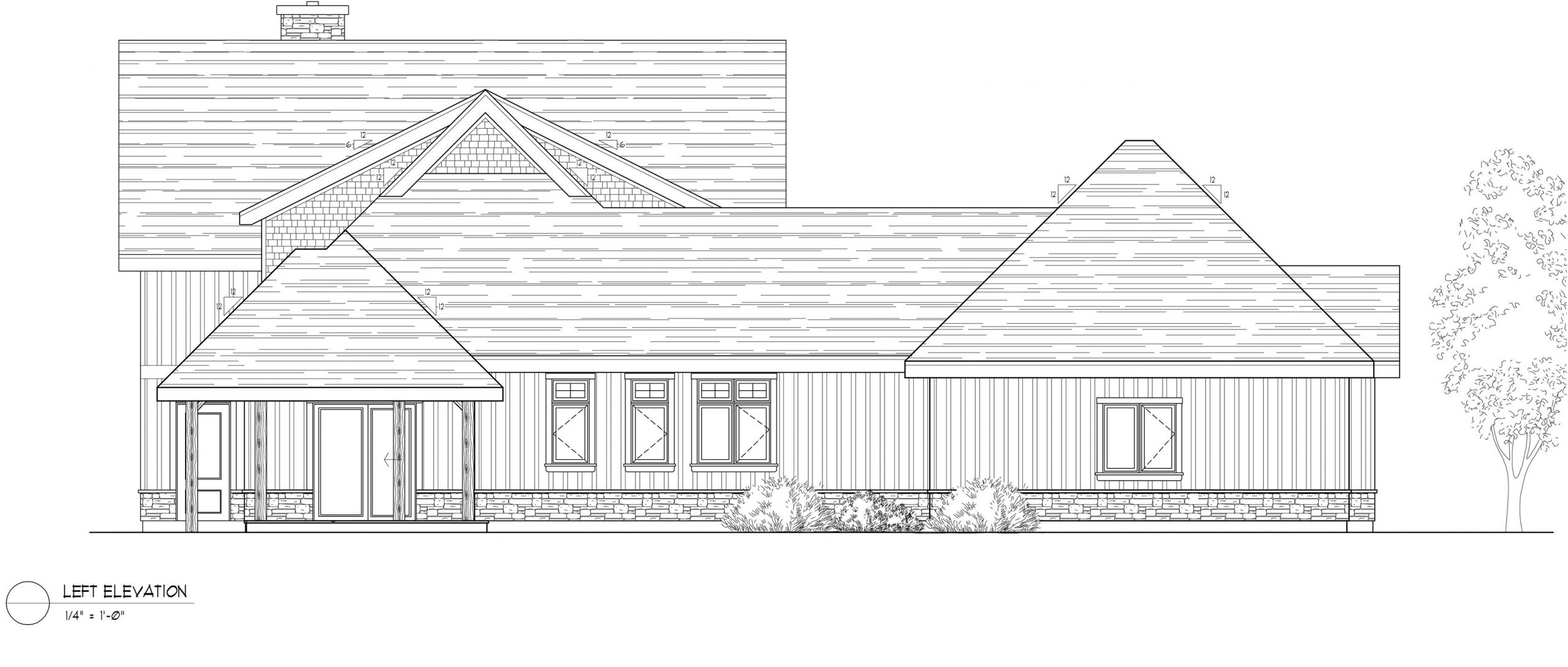 Normerica Timber Frames, House Plan, The Dufferin 2822, Left Elevation