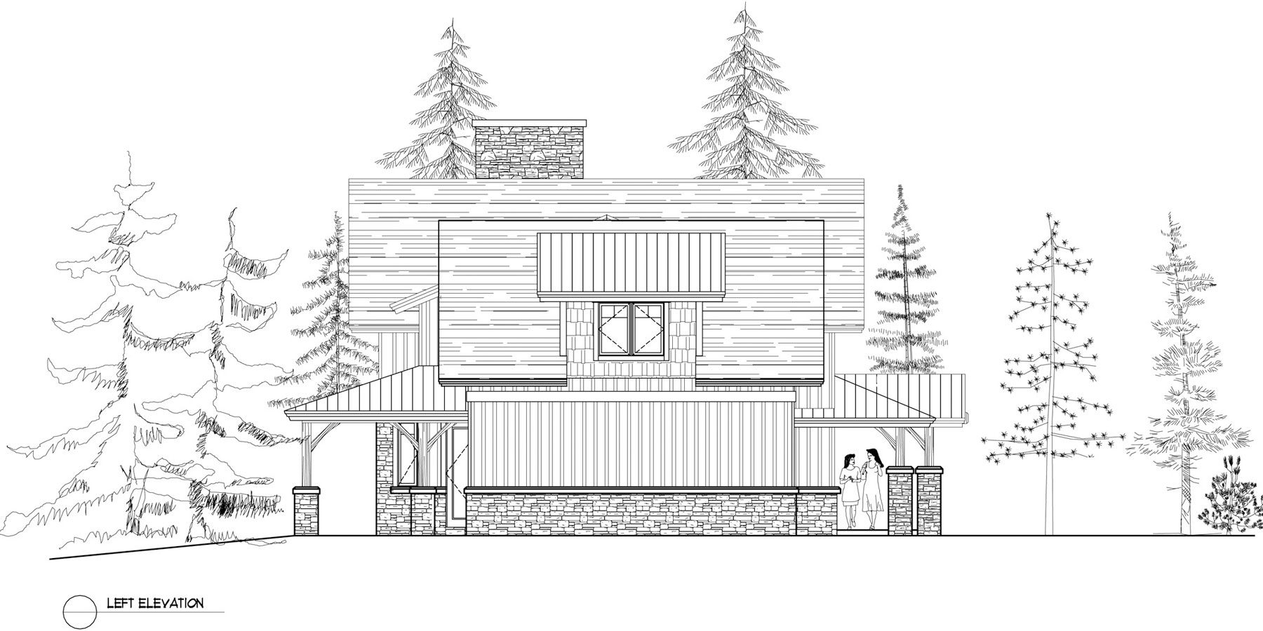 Normerica Timber Frames, House Plan, The Dufferin 3512, Left Elevation