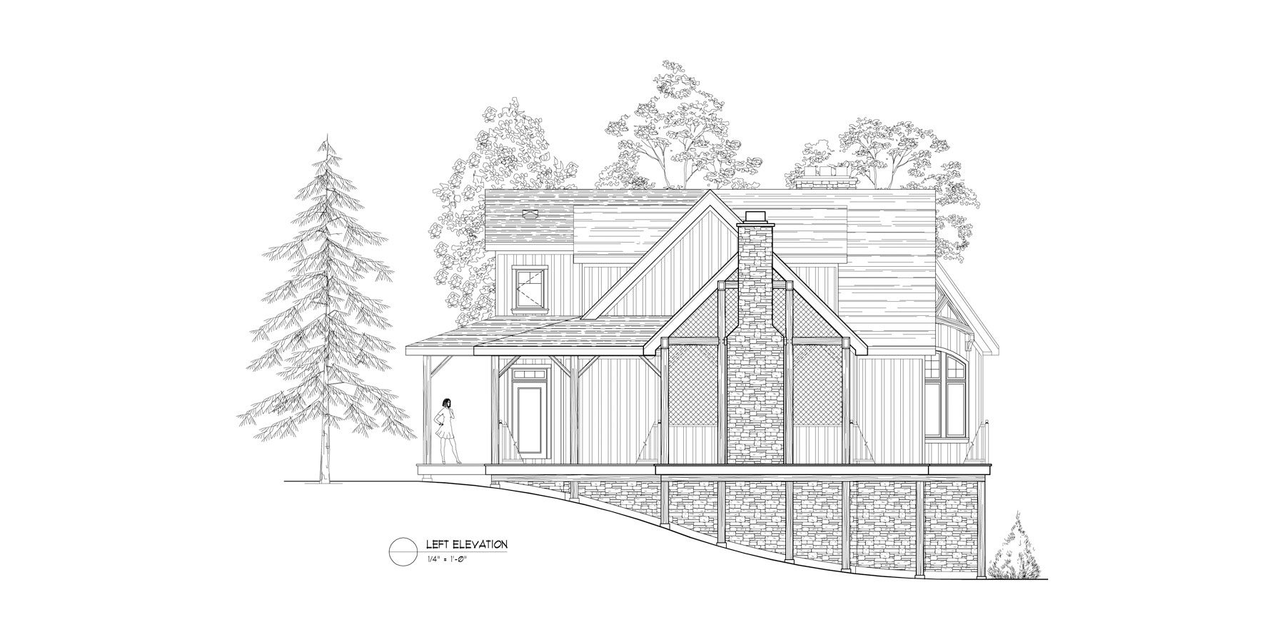 Normerica Timber Frames, House Plan, The Fremont 3582, Left Elevation