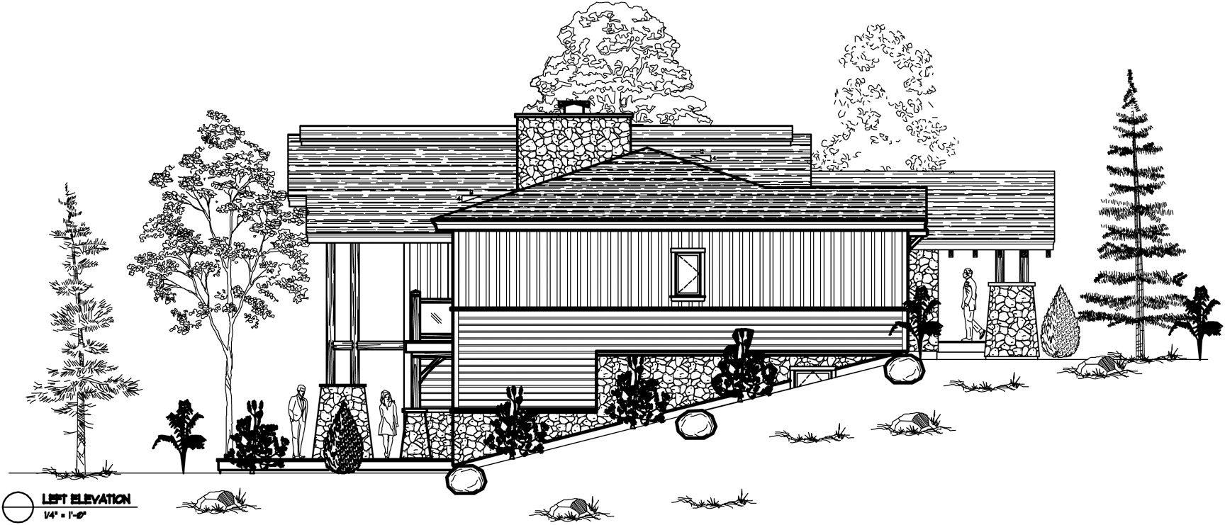 Normerica Timber Frames, House Plan, The Highrock 3579, Left Elevation