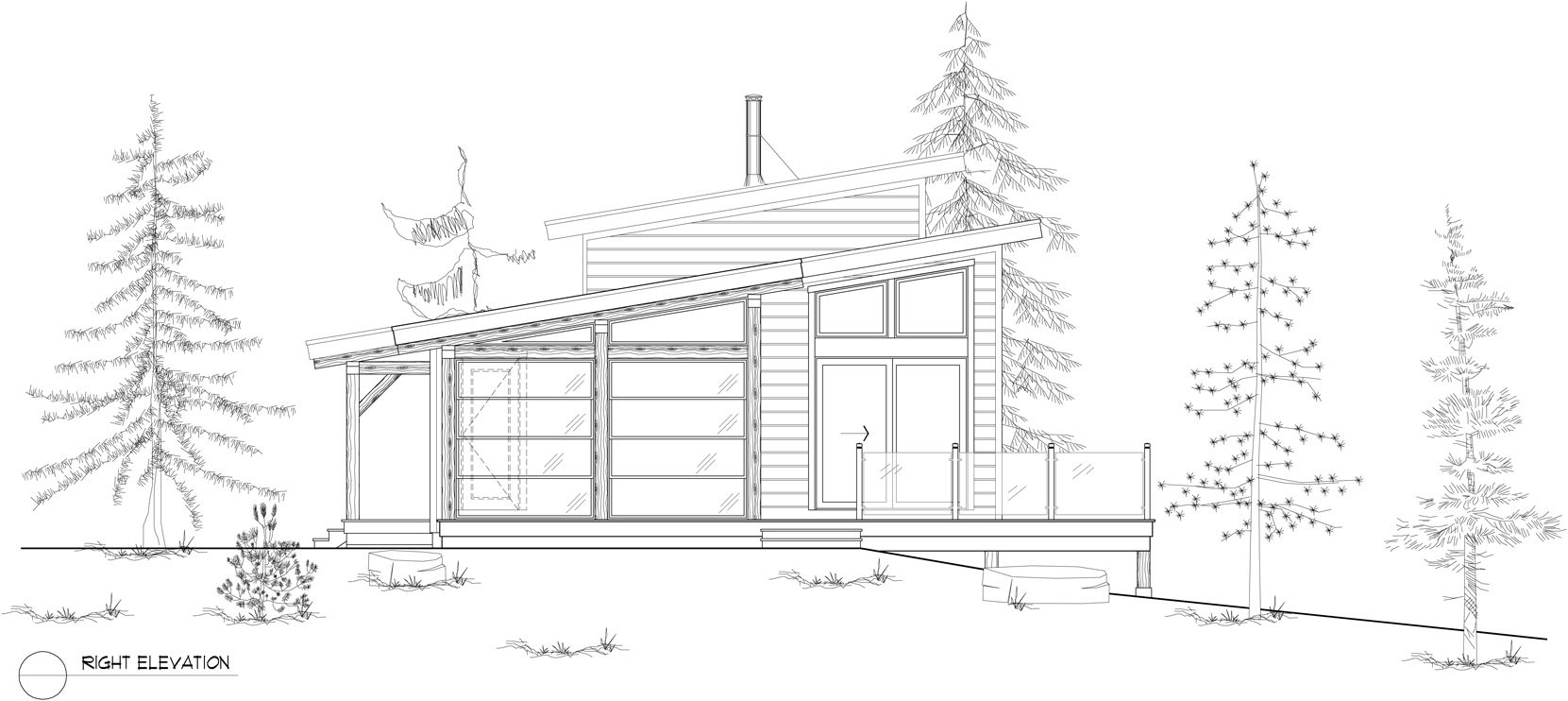 Normerica Timber Frames, House Plan, The Kershaw 3808, Right Elevation