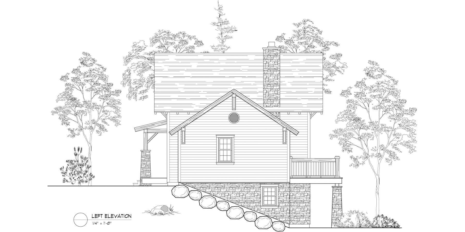Normerica Timber Frames, House Plan, The Lanark 3522, Left Elevation