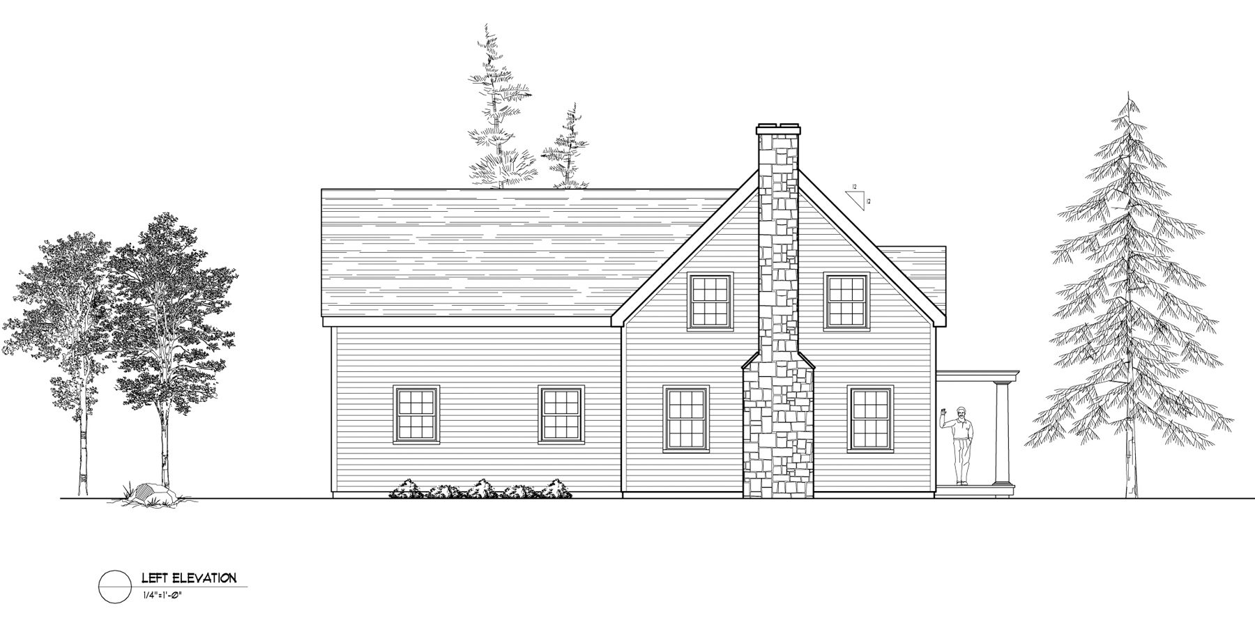 Normerica Timber Frames, House Plan, The Niagara 3539, Left Elevation
