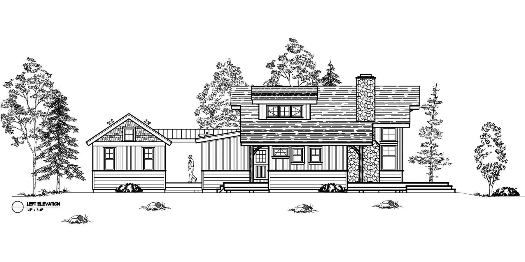 Normerica Timber Frames, House Plan, The Ranger 3575, Left Elevation