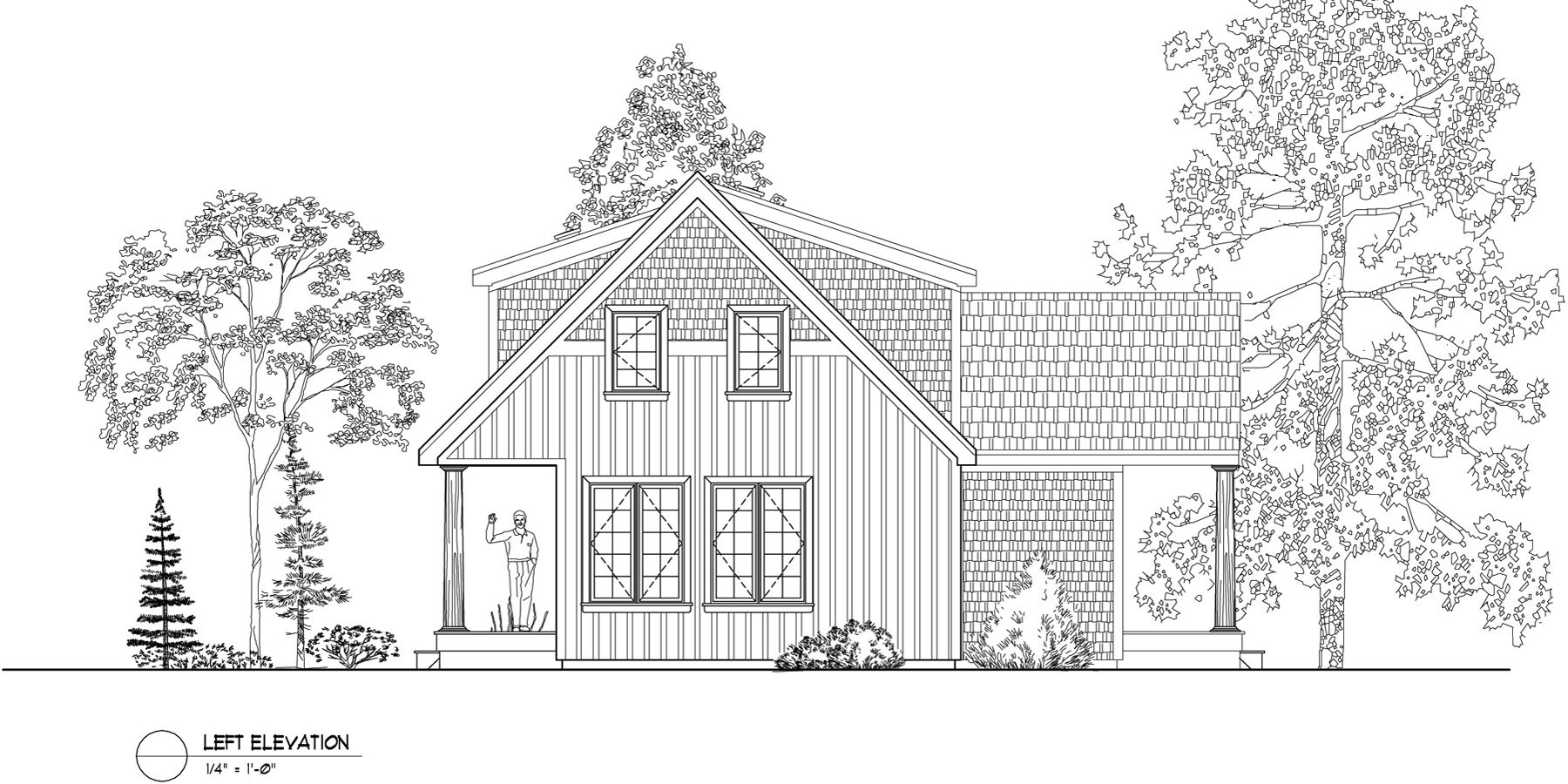 Normerica Timber Frames, House Plan, The Routt 3419, Left Elevation