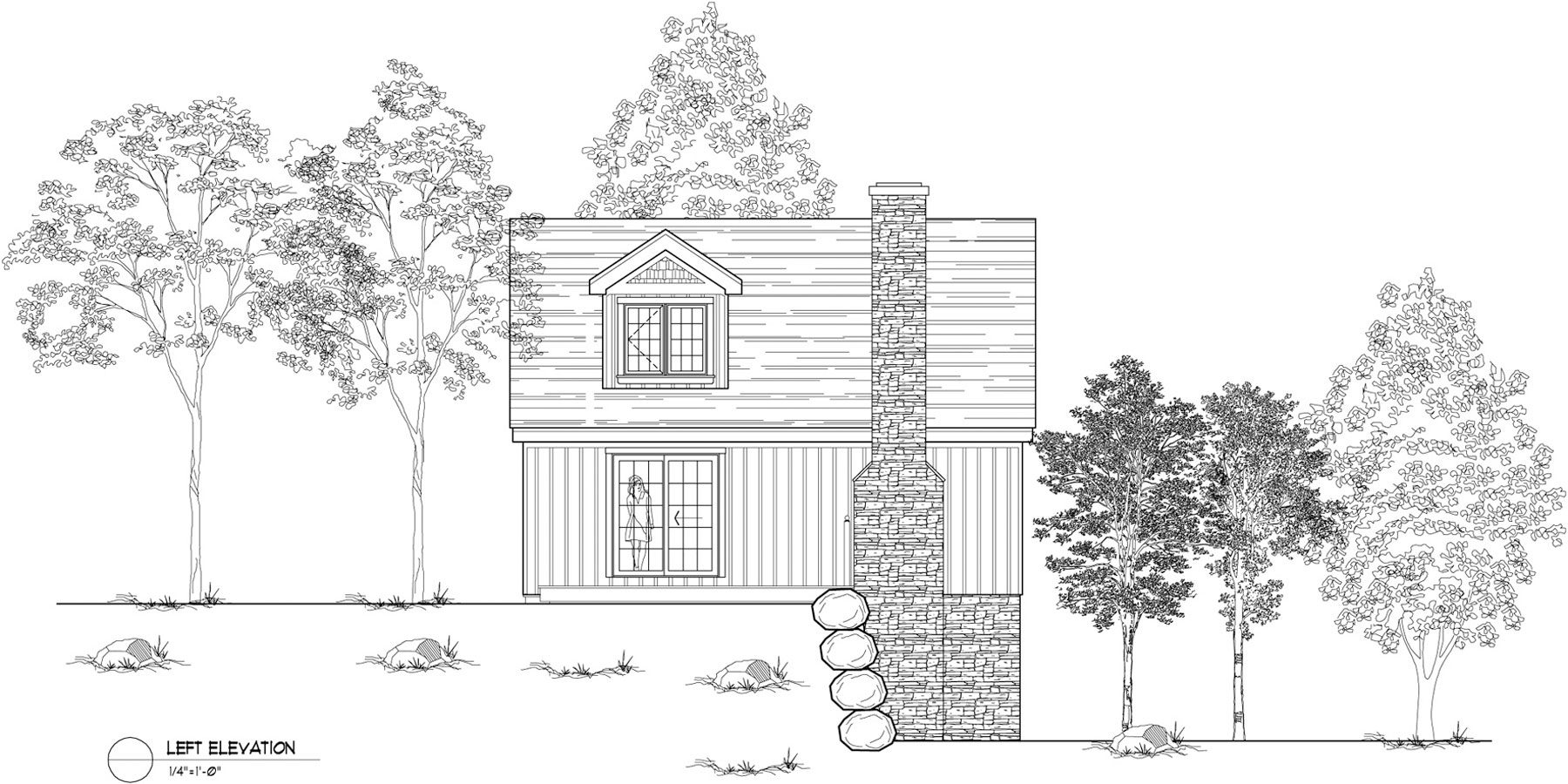 Normerica Timber Frames, House Plan, The Simcoe 3239, Left Elevation
