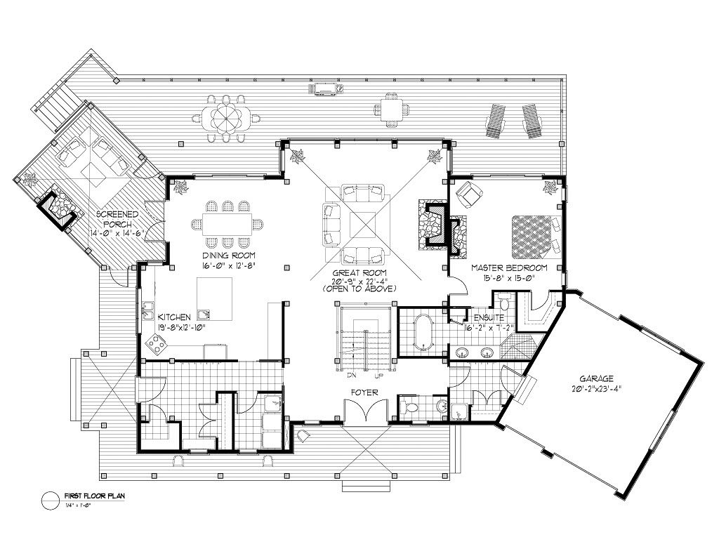Normerica Timber Frame, House Plan, The Kearns 3510, First Floor Layout