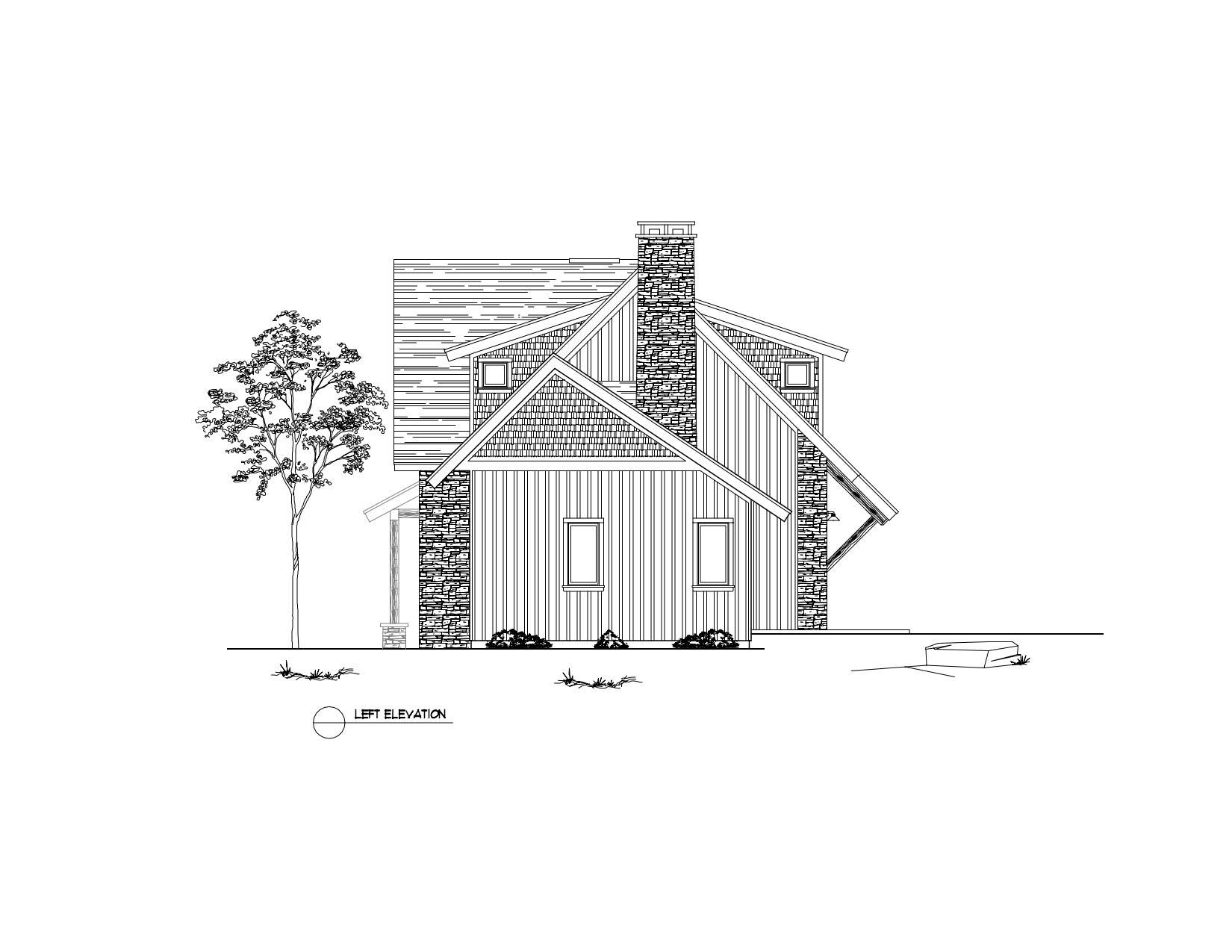 Normerica Timber Frame, House Plan, The Rosseau 3829, Left Elevation
