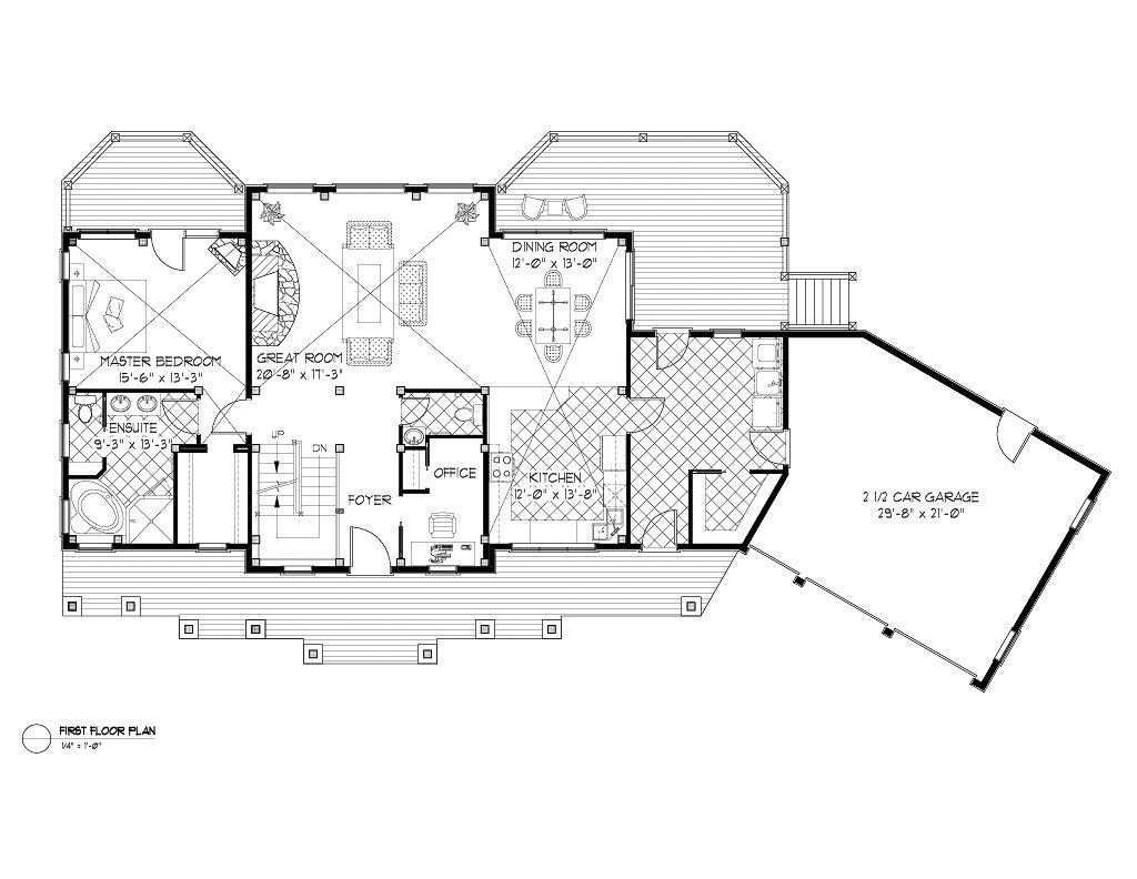 Normerica Timber Frames, House Plan, Algoma 3538, First Floor Layout