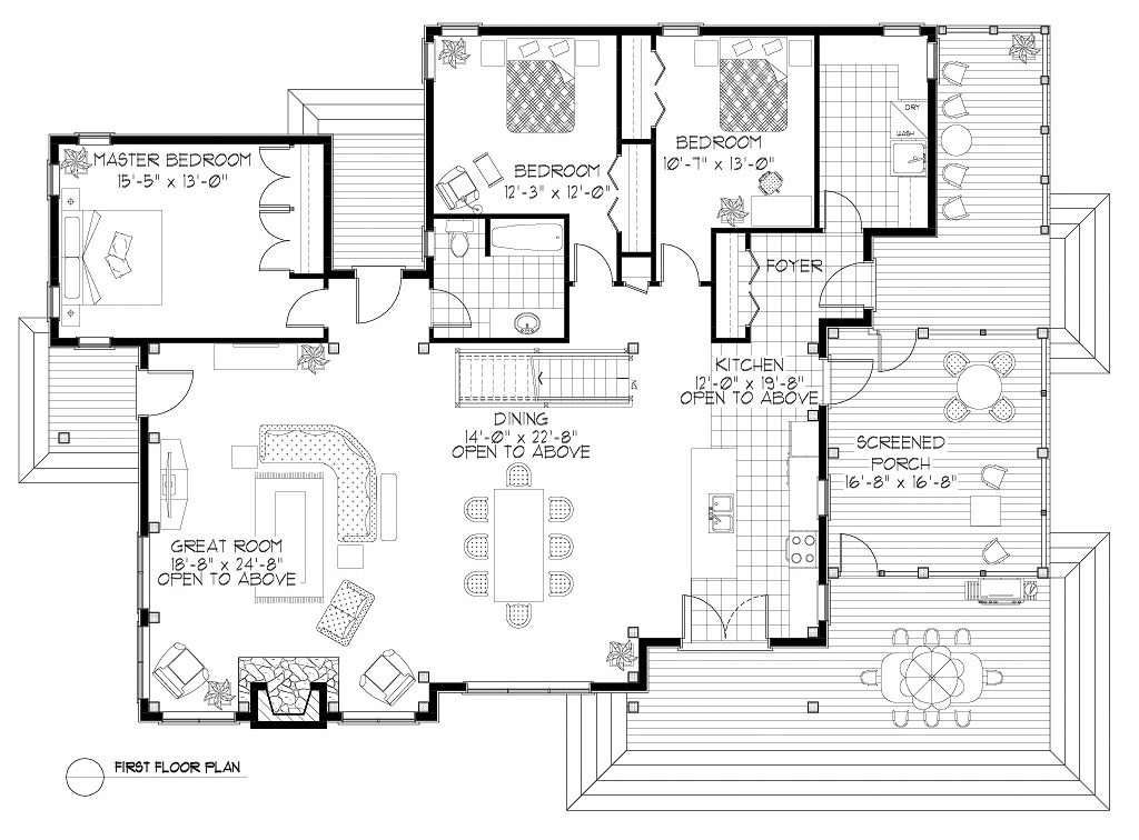 Normerica Timber Frames, House Plan, The Baril 3514, First Floor Layout