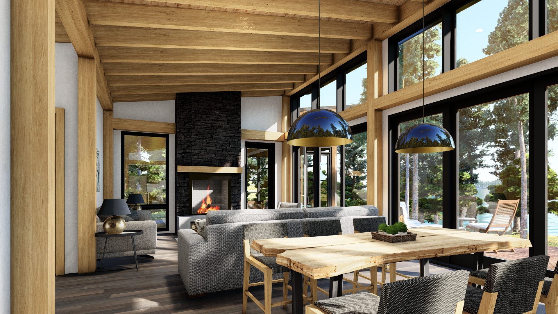 Normerica Timber Frames, House Plan, The Bayfield 3945, Interior, Dining Room, Living Room