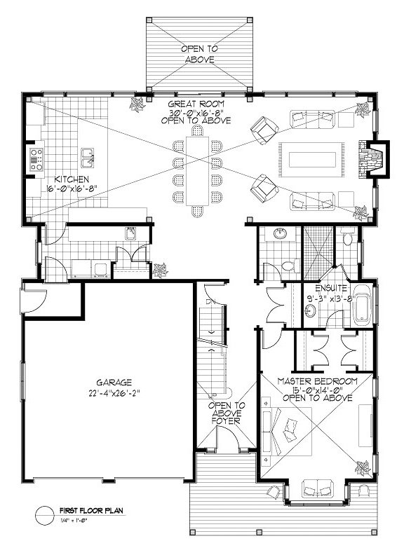 Normerica Timber Frames, House Plan, The Birches 3532, First Floor Layout