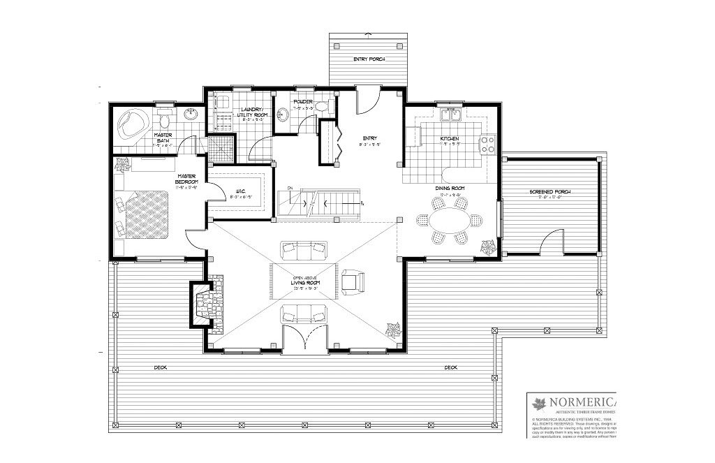 Normerica Timber Frames, House Plan, The Carleton 3115, First Floor Layout