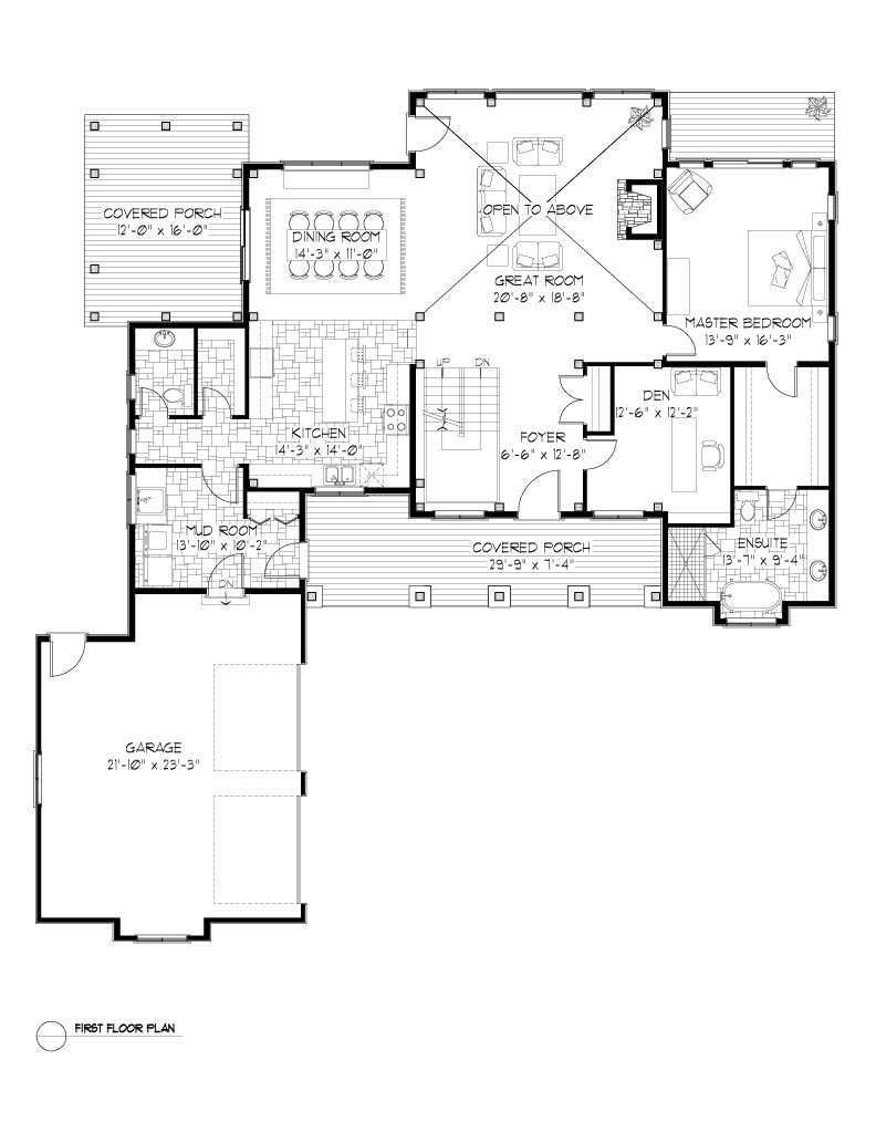 Normerica Timber Frames, House Plan, The Dufferin 2822, First Floor Layout